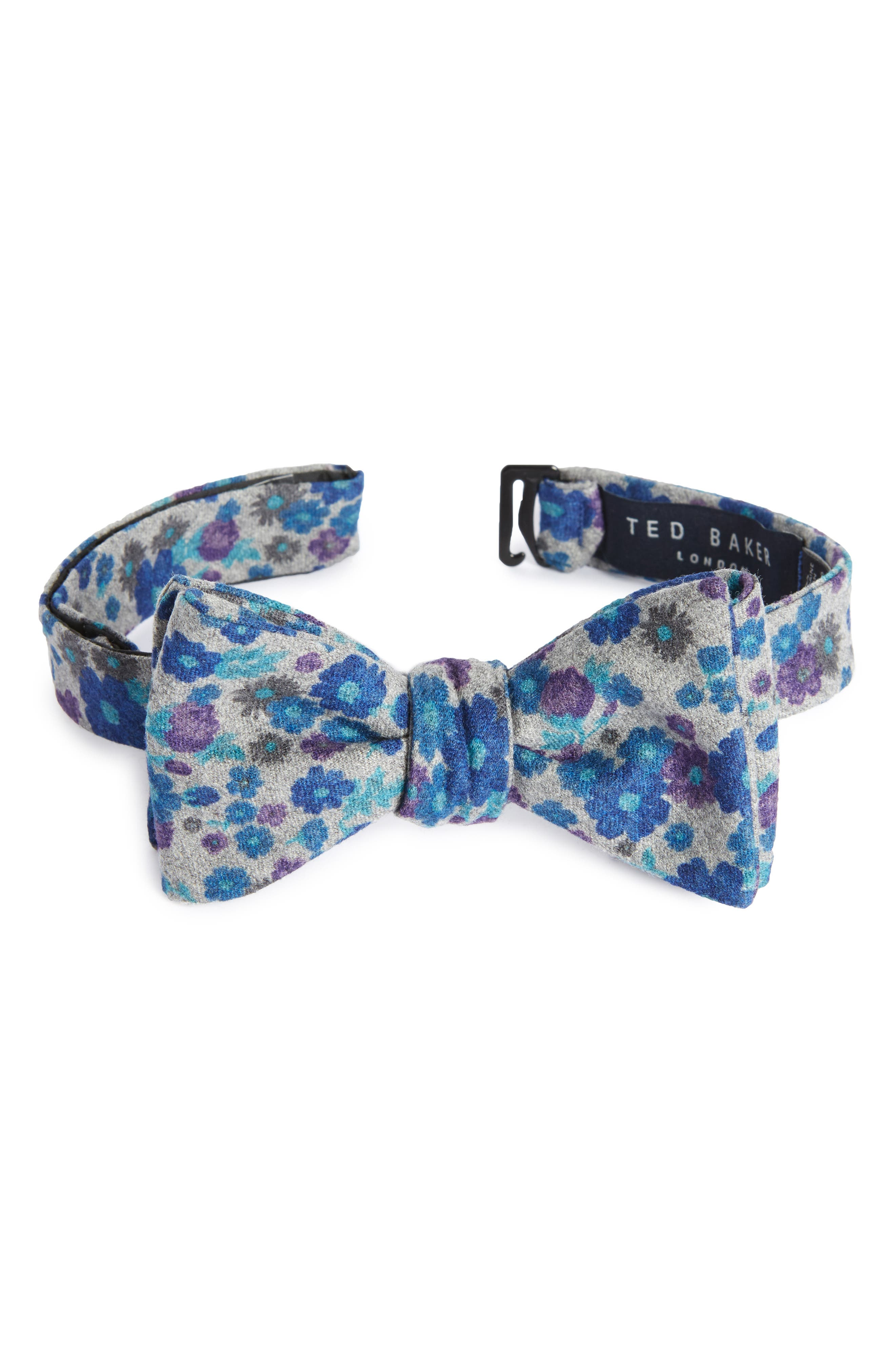 Floral Print Wool Bow Tie,                             Main thumbnail 2, color,