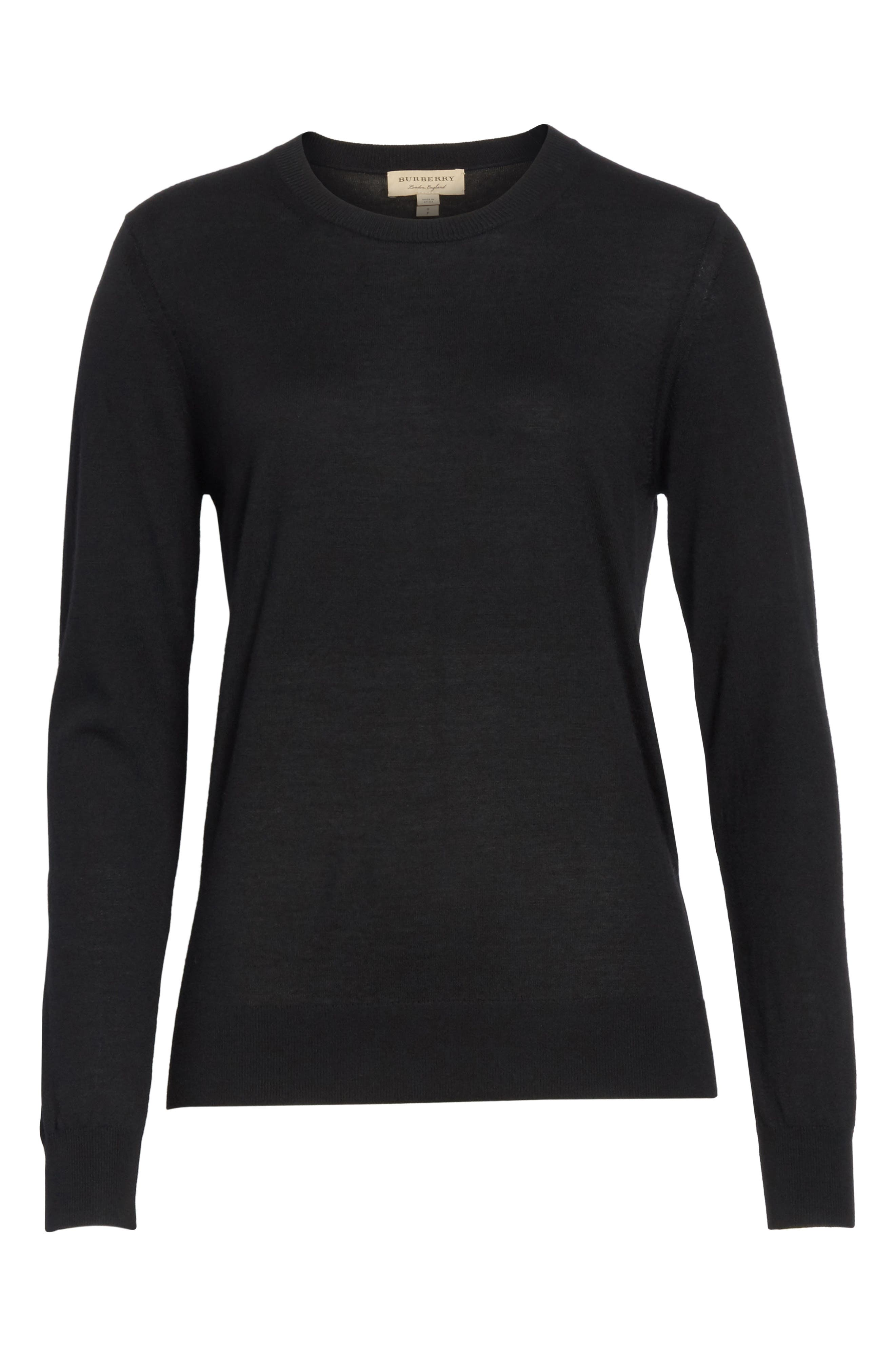 BURBERRY,                             Viar Merino Wool Sweater,                             Alternate thumbnail 6, color,                             001