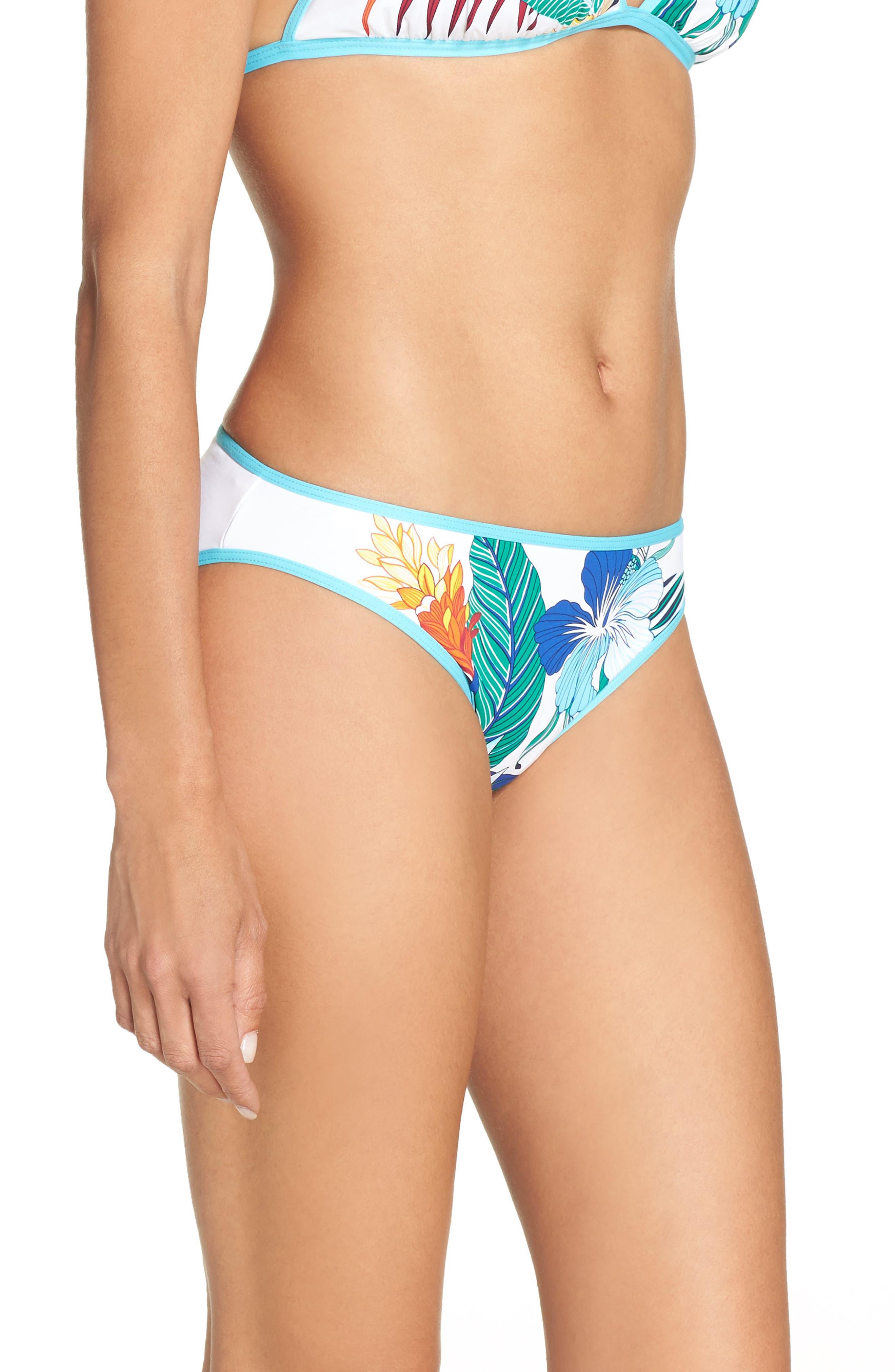 Hibiscus Print Bikini Bottoms,                             Alternate thumbnail 3, color,                             100