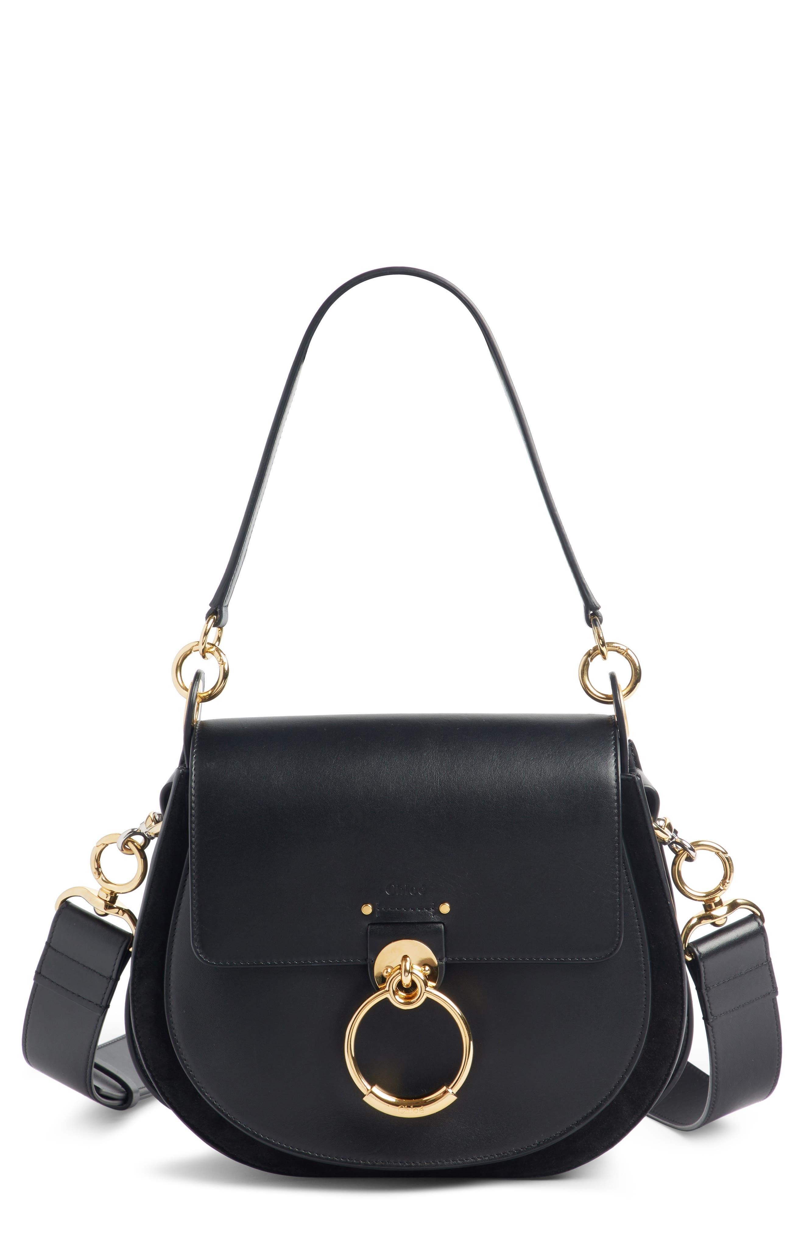 CHLOÉ,                             Medium Tess Calfskin Leather Shoulder Bag,                             Main thumbnail 1, color,                             BLACK