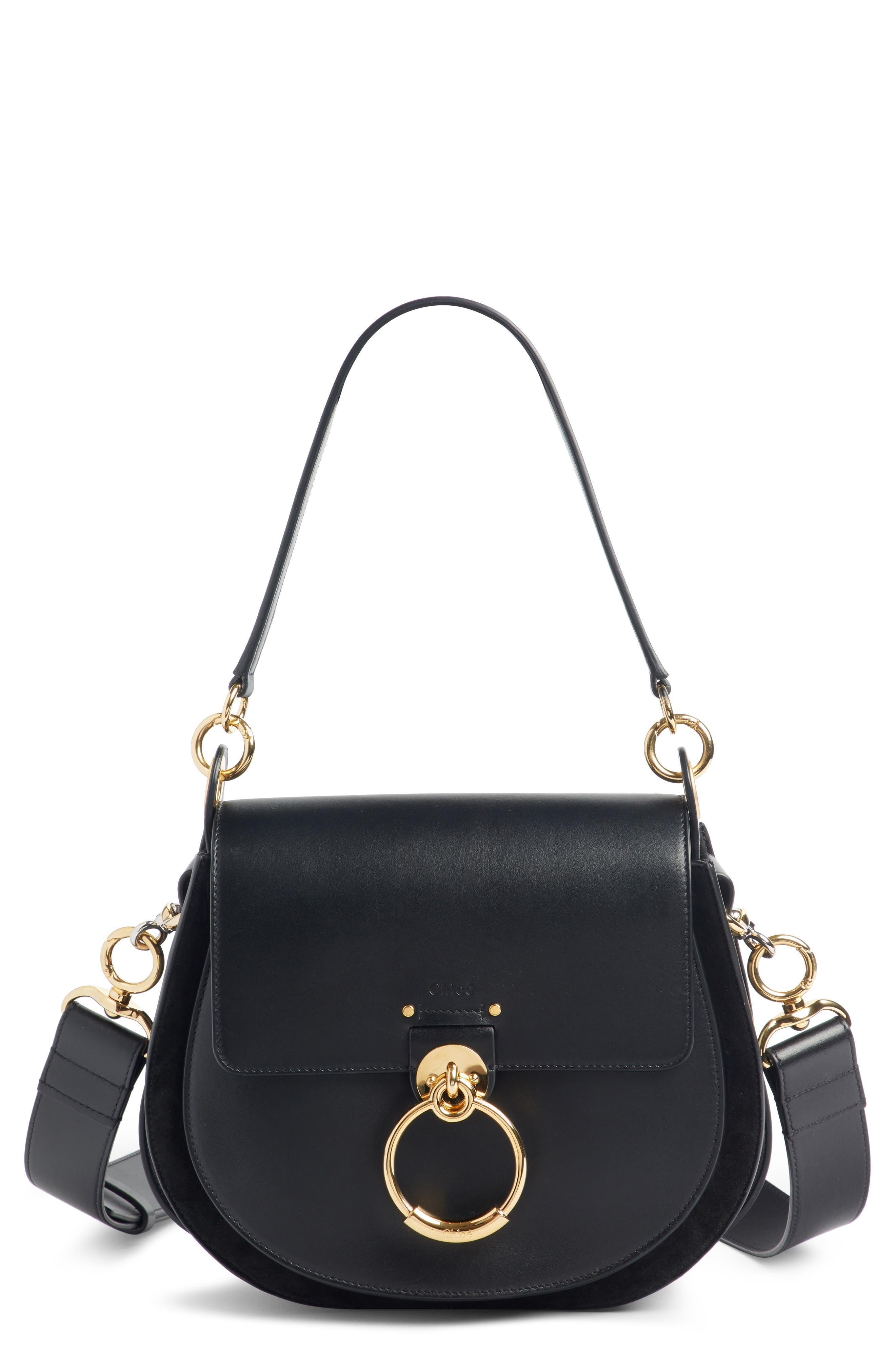 CHLOÉ Medium Tess Calfskin Leather Shoulder Bag, Main, color, BLACK