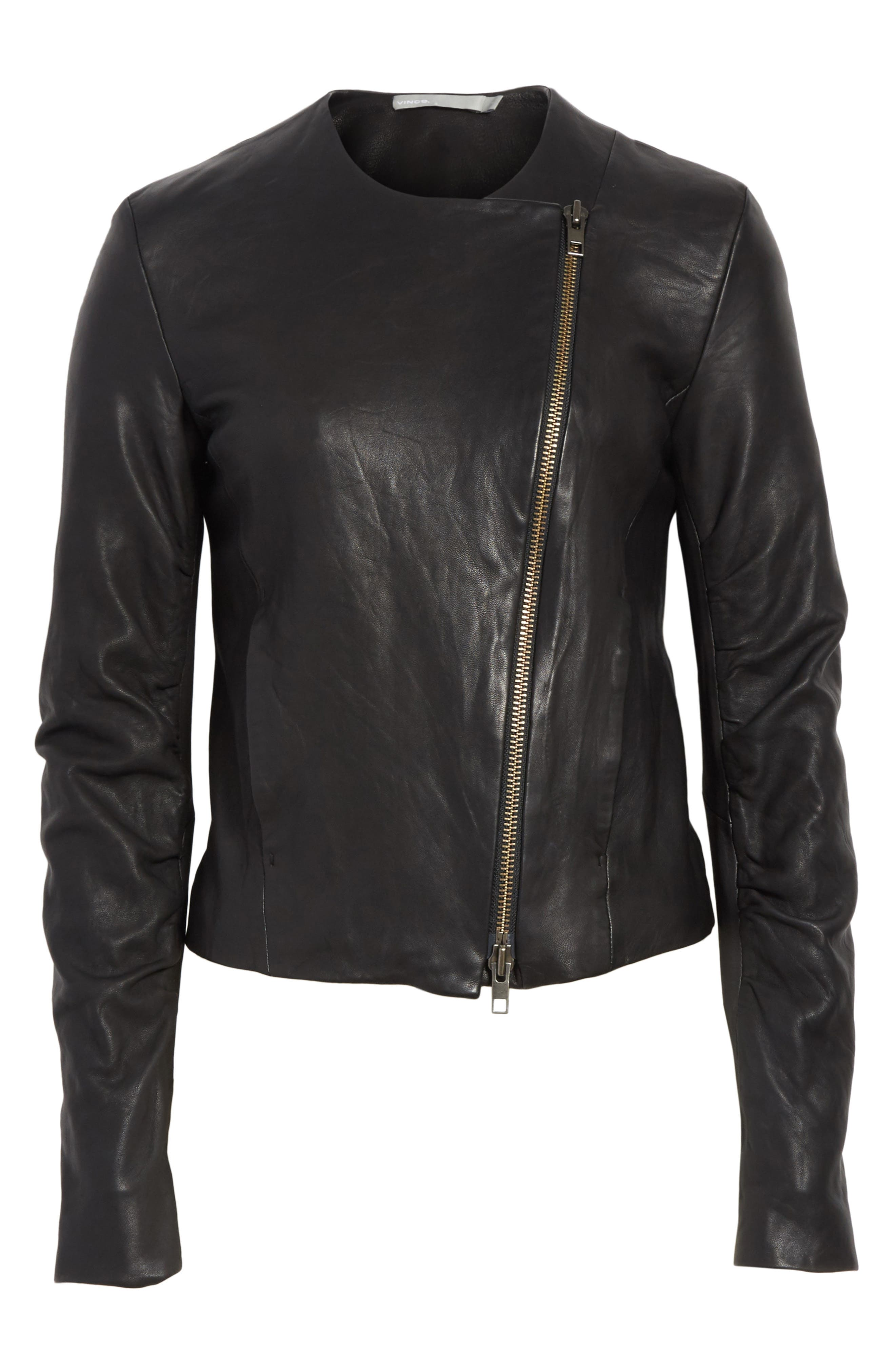 Cross Front Leather Jacket,                             Alternate thumbnail 5, color,                             001