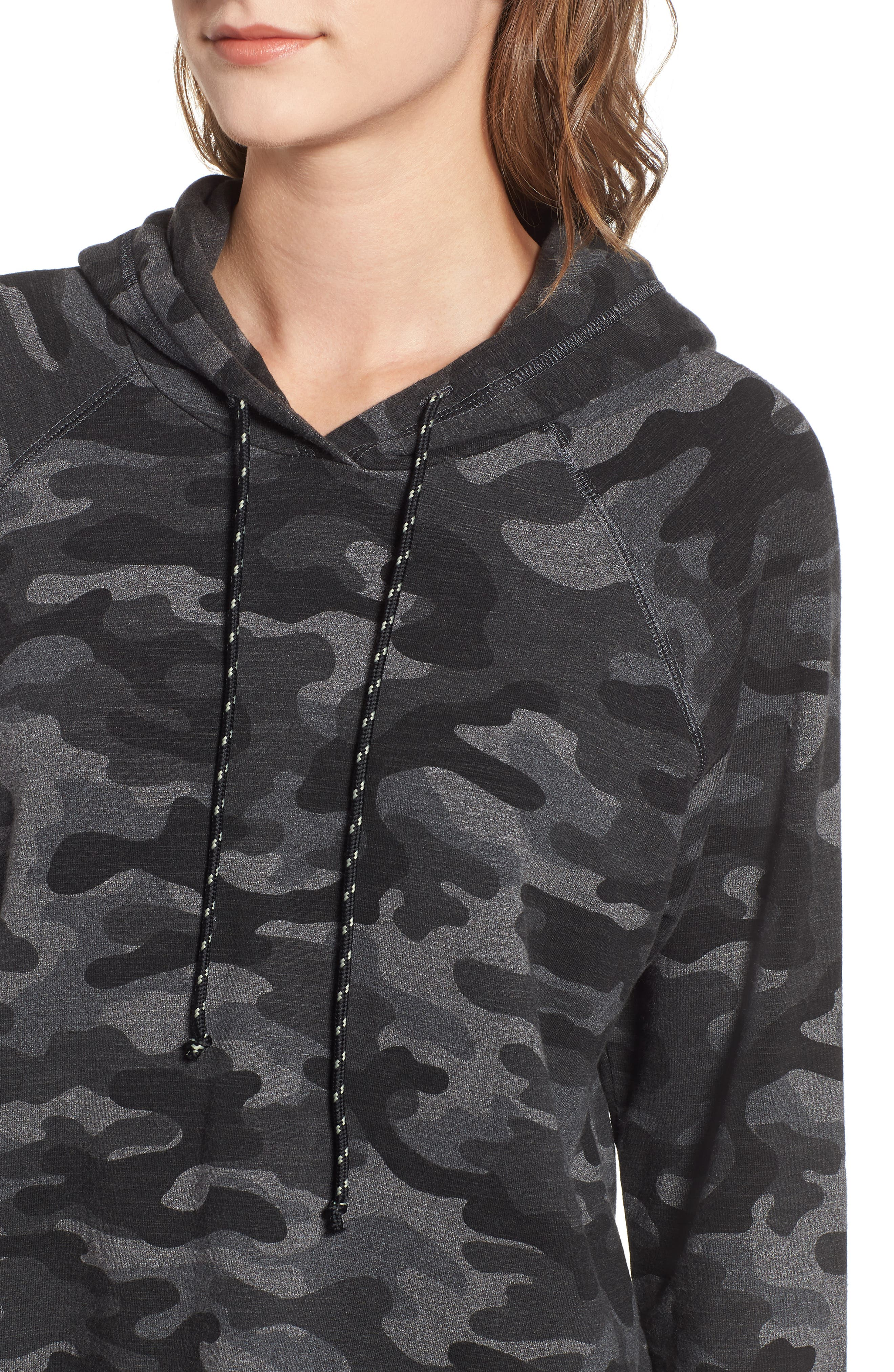 Camo Crop Hoodie,                             Alternate thumbnail 4, color,                             CHARCOAL