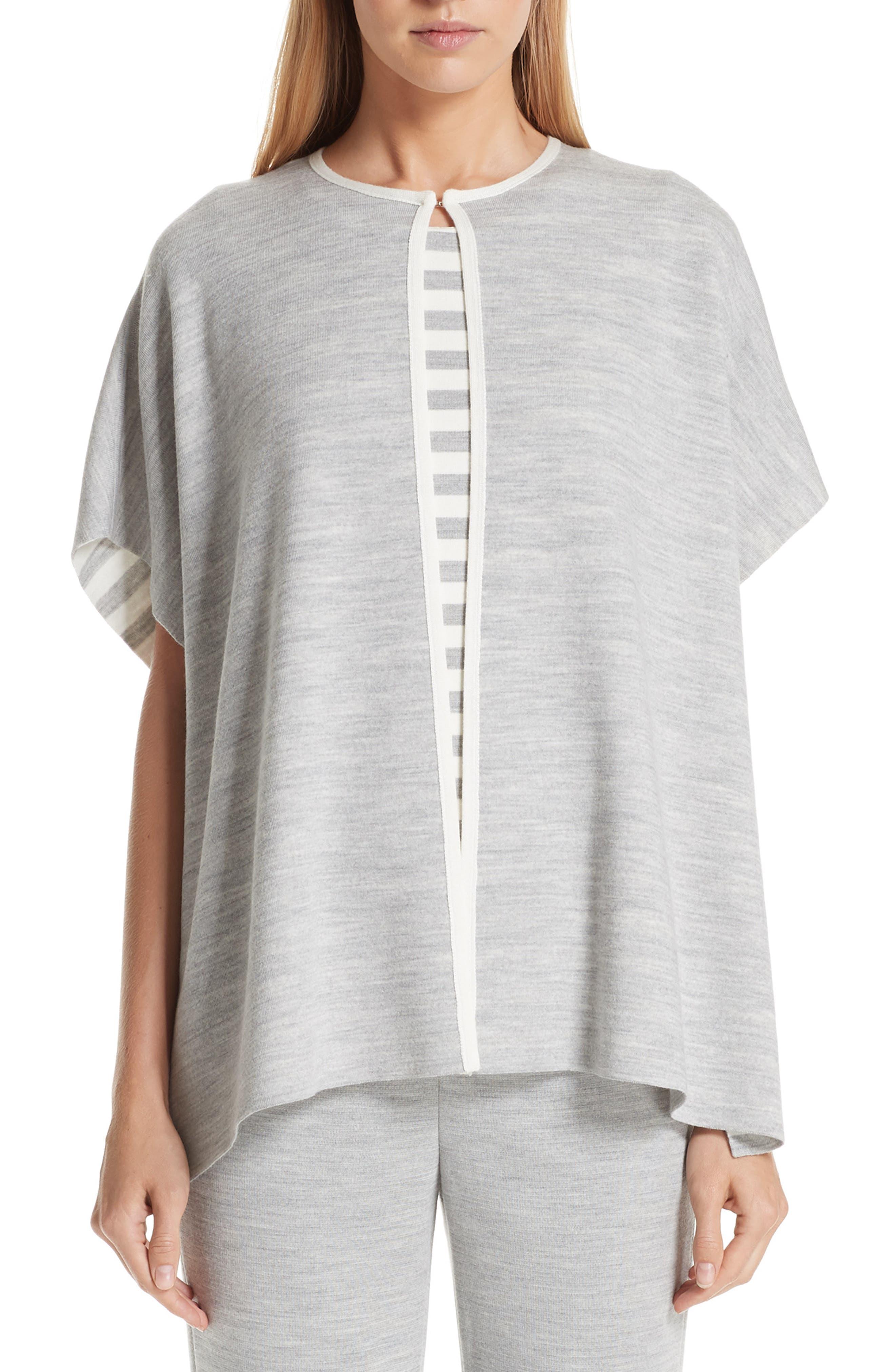 Knit Reversible Poncho, Main, color, MID GREY MELANGE/ CREAM