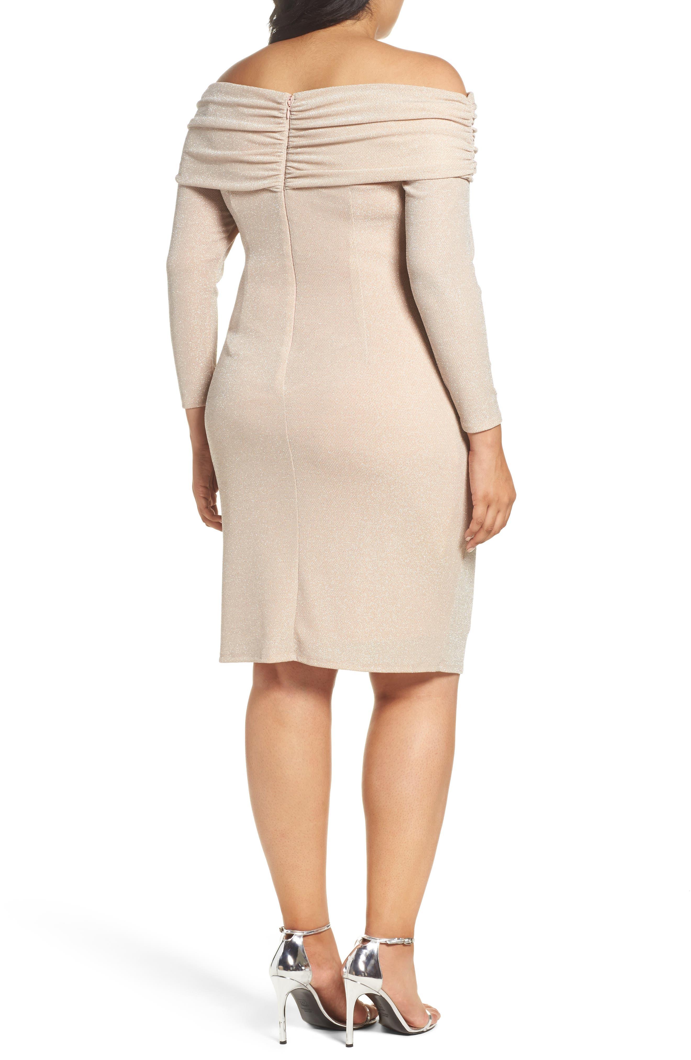 Off the Shoulder Metallic Knit Sheath Dress,                             Alternate thumbnail 2, color,                             684