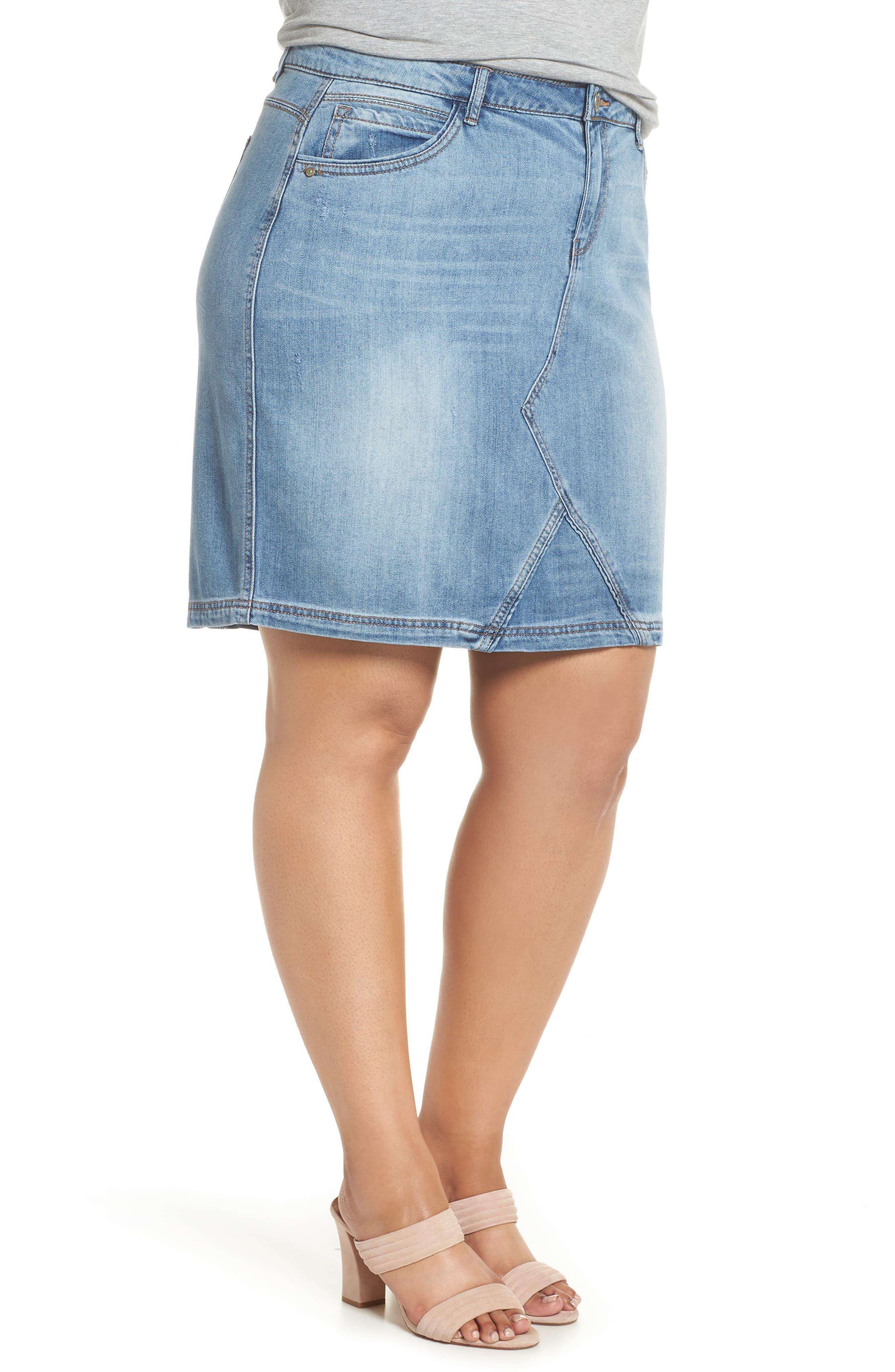 Denim A-Line Skirt,                             Alternate thumbnail 3, color,                             LIGHT BLUE