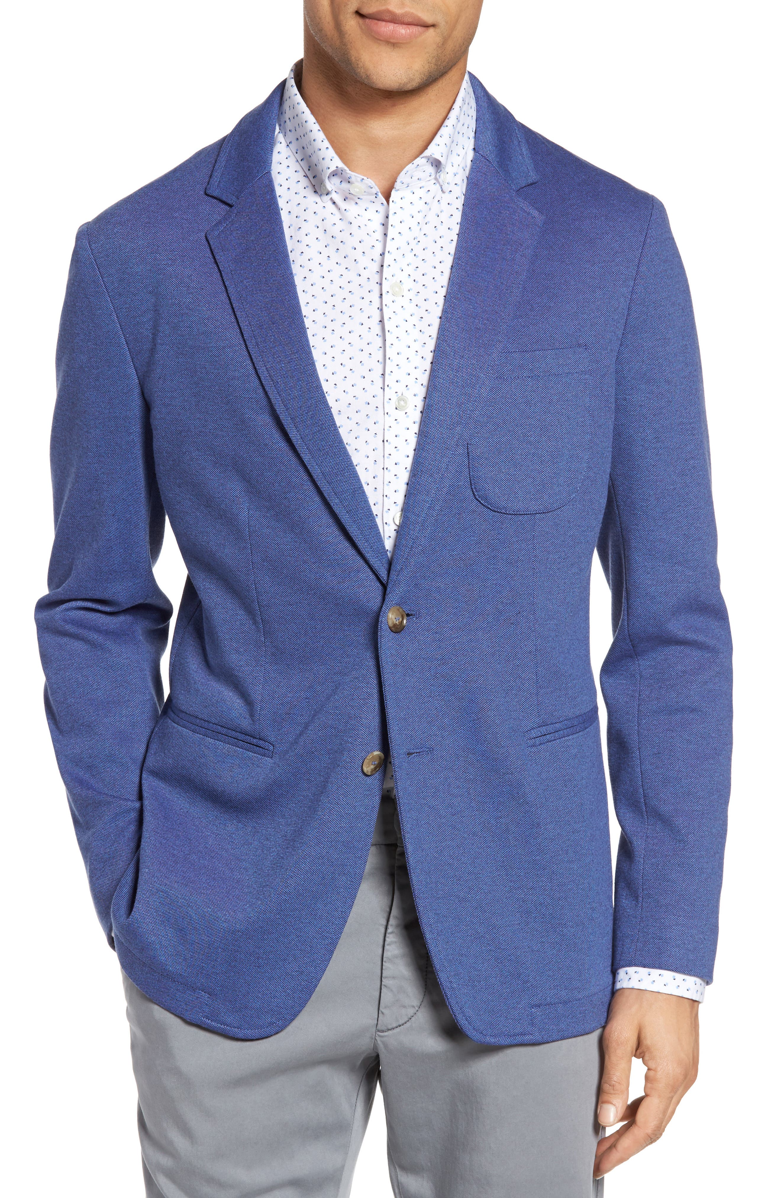Two-Button Knit Sport Coat,                         Main,                         color, BLUE