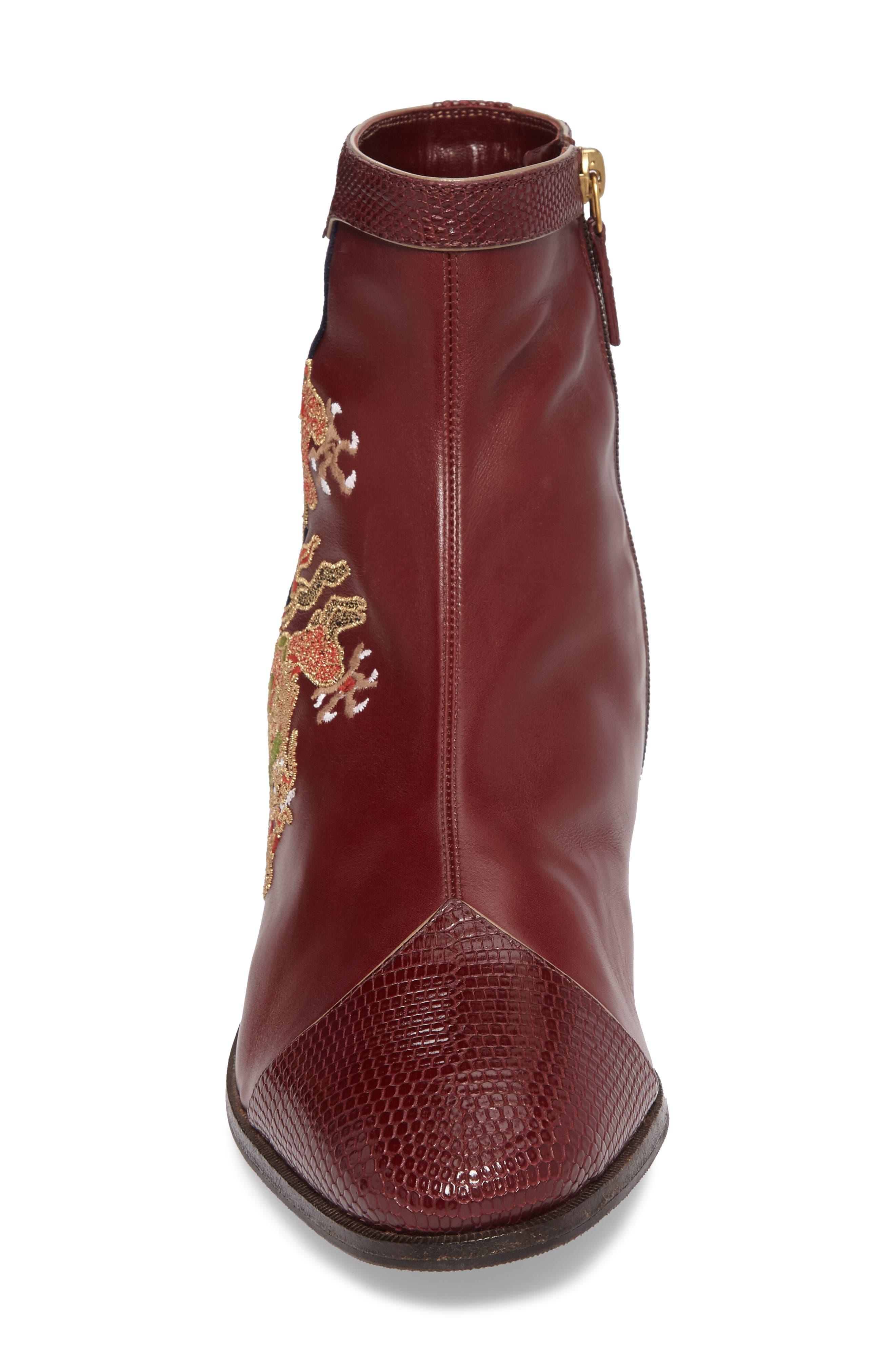 Dragon Leather Boot,                             Alternate thumbnail 4, color,                             BORDEAUX