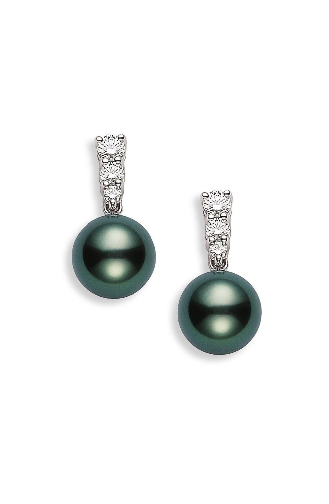 'Morning Dew' Black South Sea Cultured Pearl & Diamond Earrings,                             Alternate thumbnail 2, color,                             WHITE GOLD