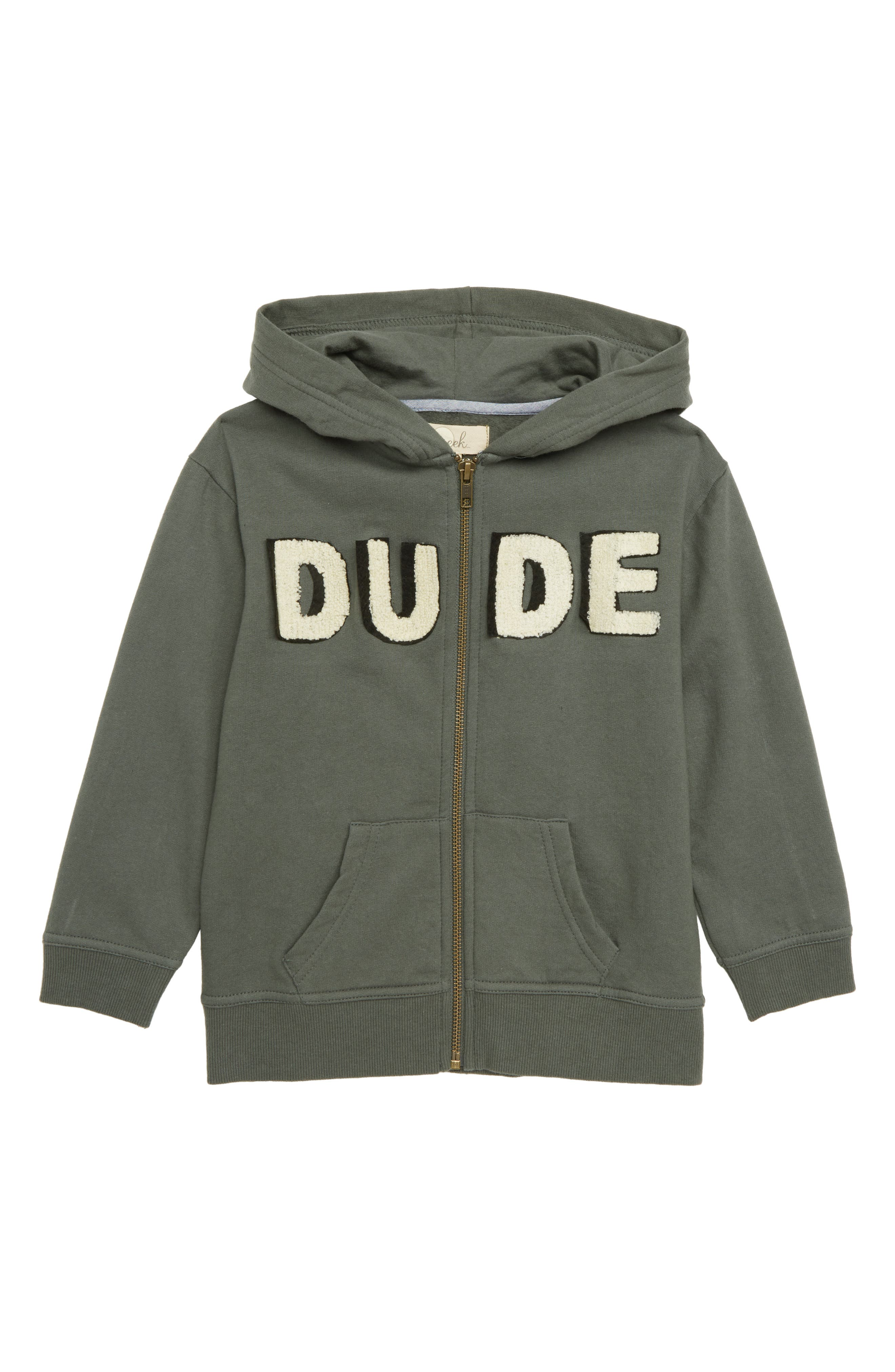 Dude Zip Hoodie,                             Main thumbnail 1, color,                             OLIVE GREEN