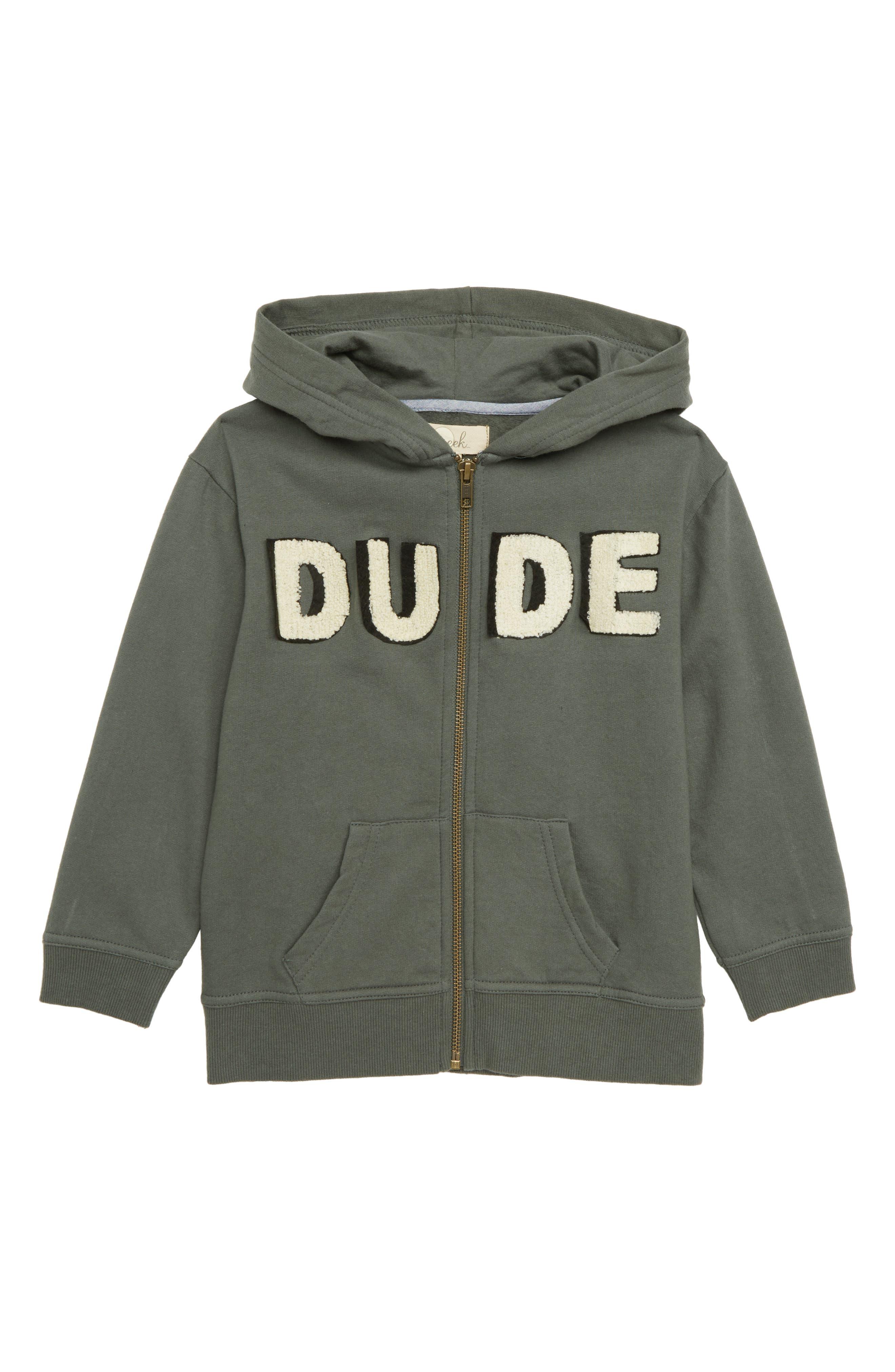 Dude Zip Hoodie,                         Main,                         color, OLIVE GREEN