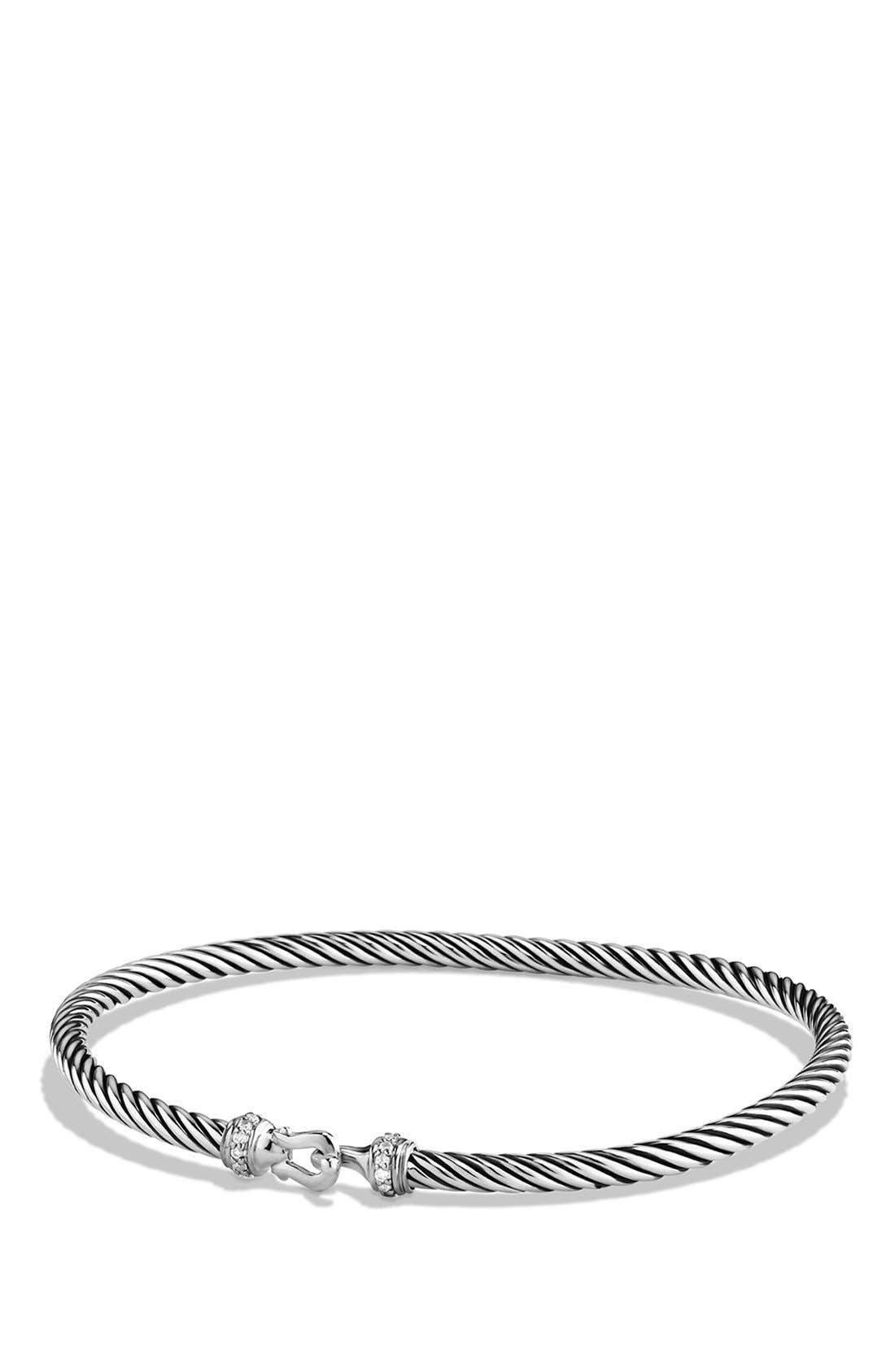 DAVID YURMAN,                             Cable Collectibles Buckle Bangle Bracelet with Diamonds, 3mm,                             Main thumbnail 1, color,                             DIAMOND