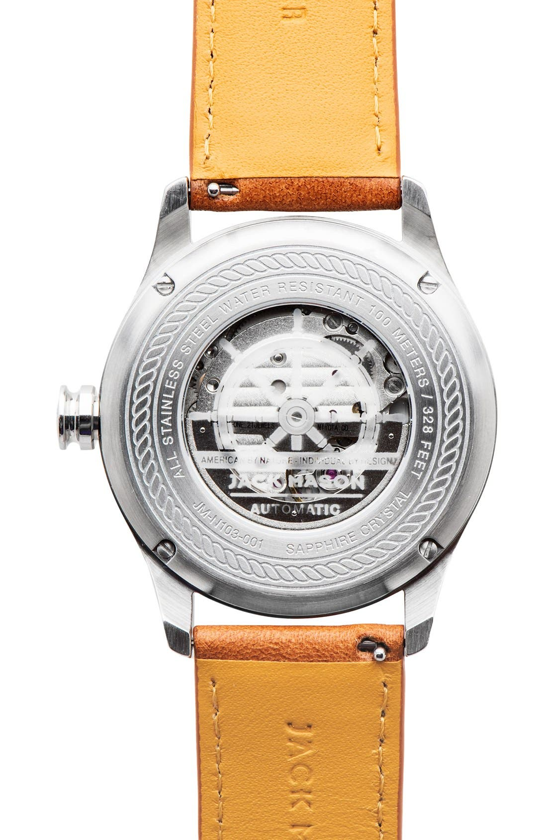 Nautical Automatic Leather Strap Watch, 42mm,                             Alternate thumbnail 2, color,                             WHITE/ TAN