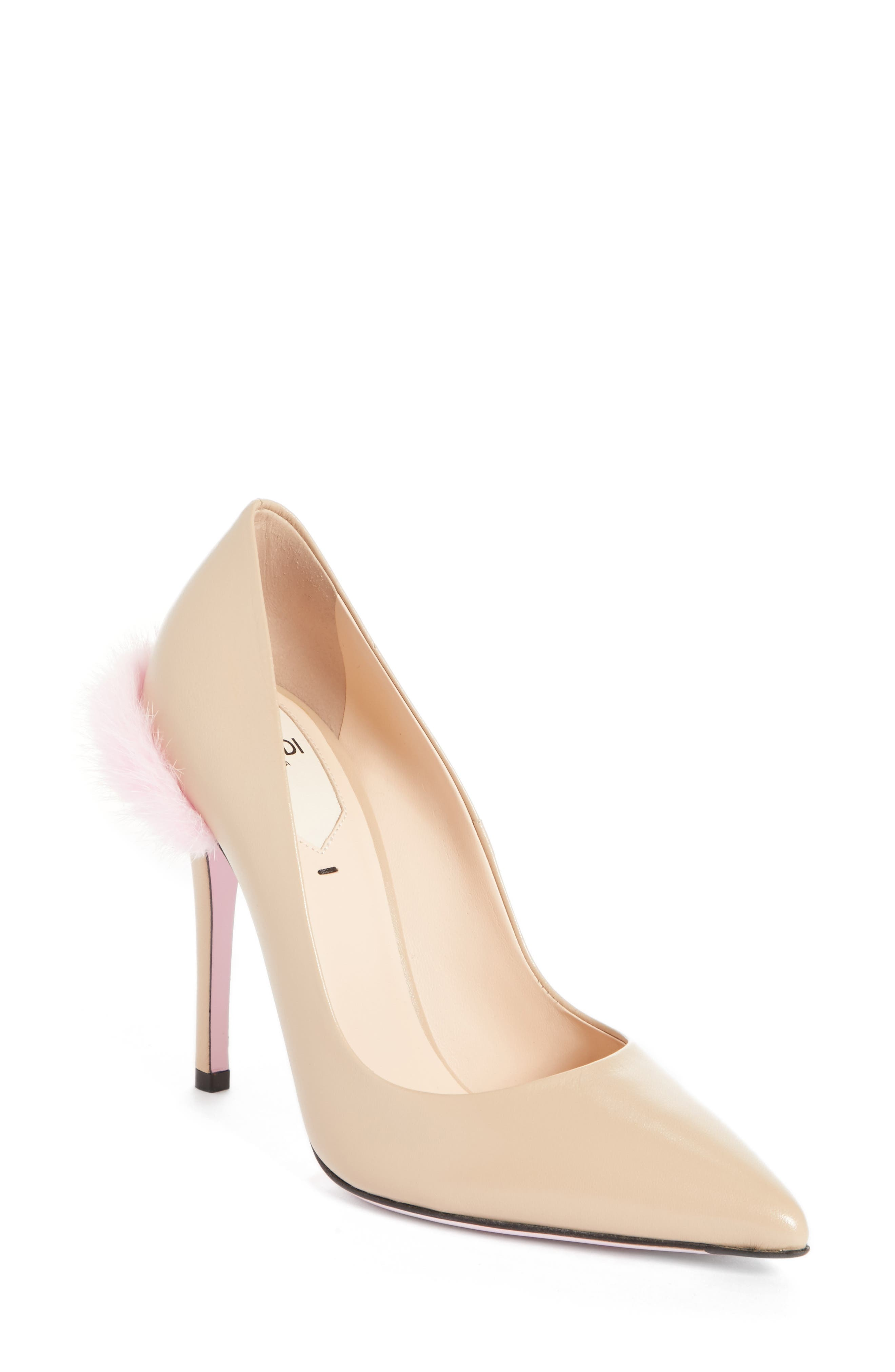 Duo Pointy Toe Pump with Genuine Mink Trim,                             Main thumbnail 2, color,