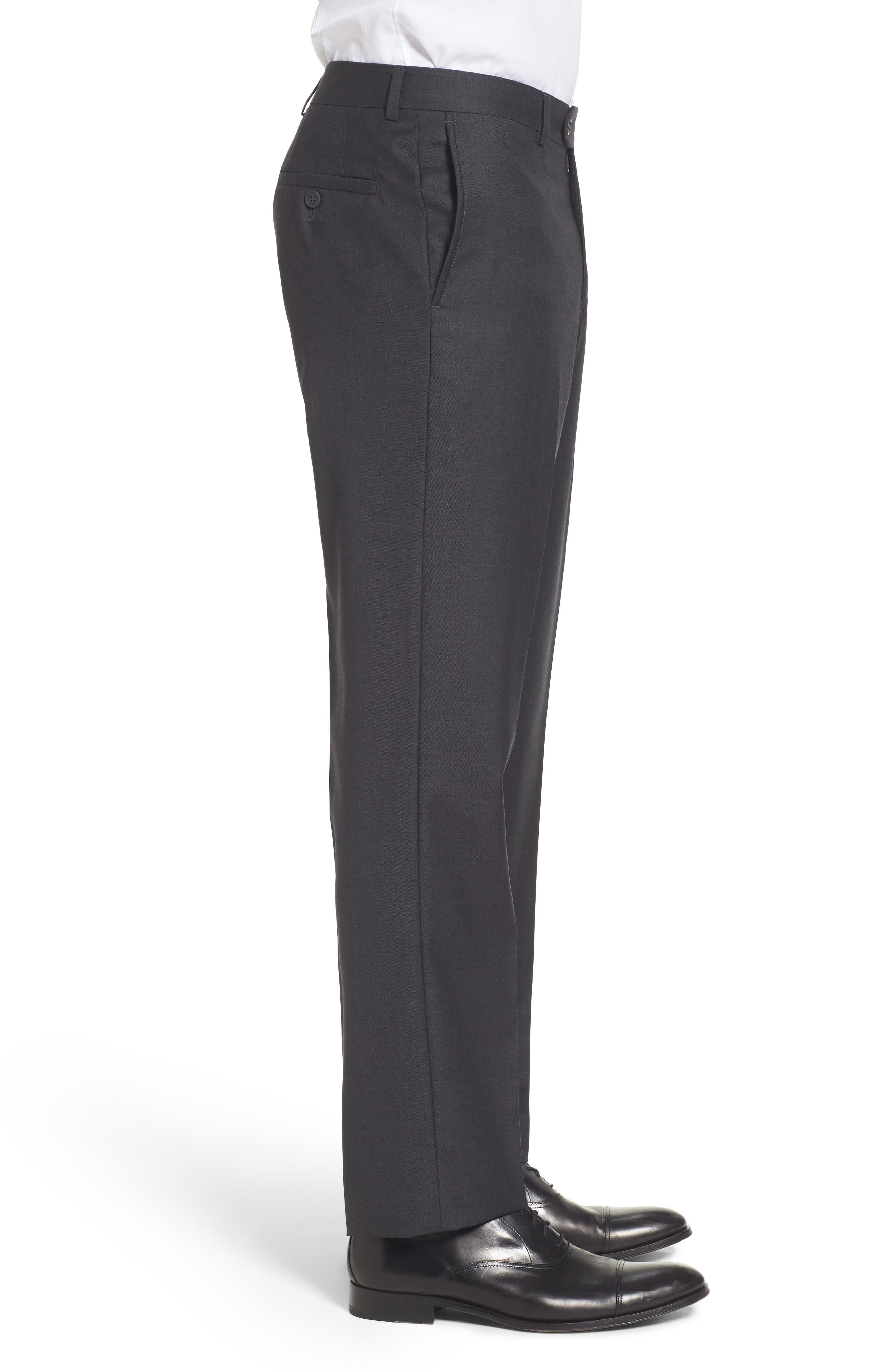 Flat Front Solid Wool Trousers,                             Alternate thumbnail 21, color,