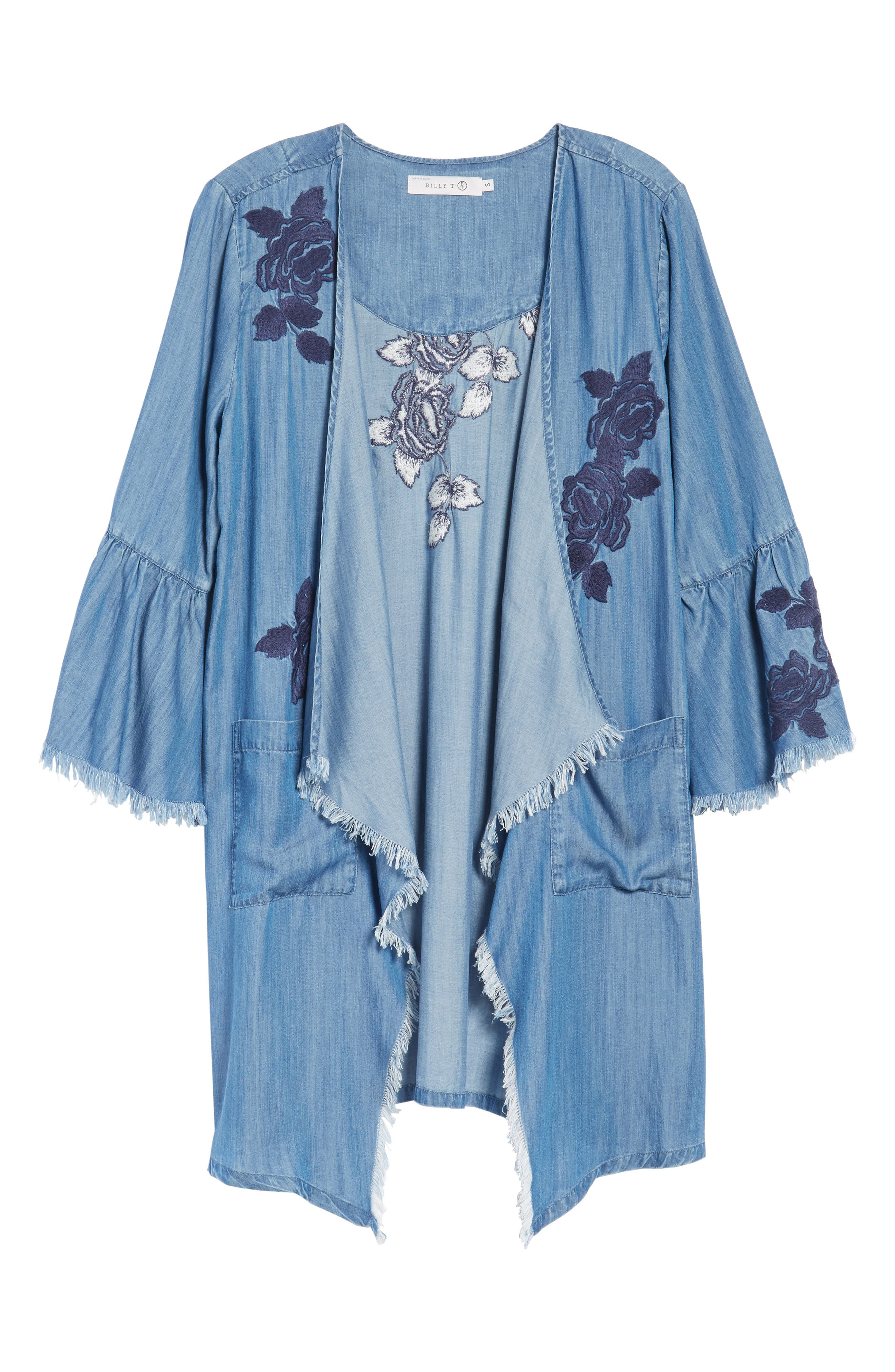 Embroidered Drape Front Chambray Cardigan,                             Alternate thumbnail 5, color,                             421