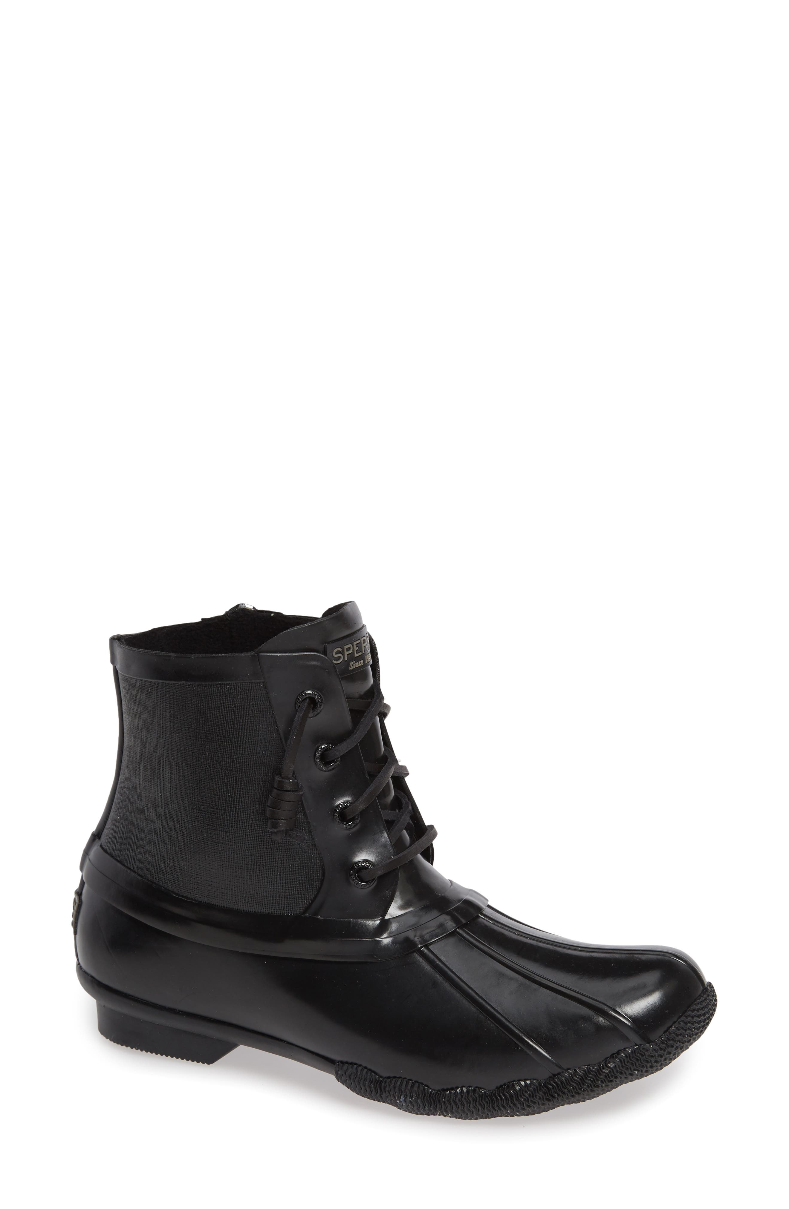 Flooded Rubber Saltwater Bootie,                             Main thumbnail 1, color,                             BLACK