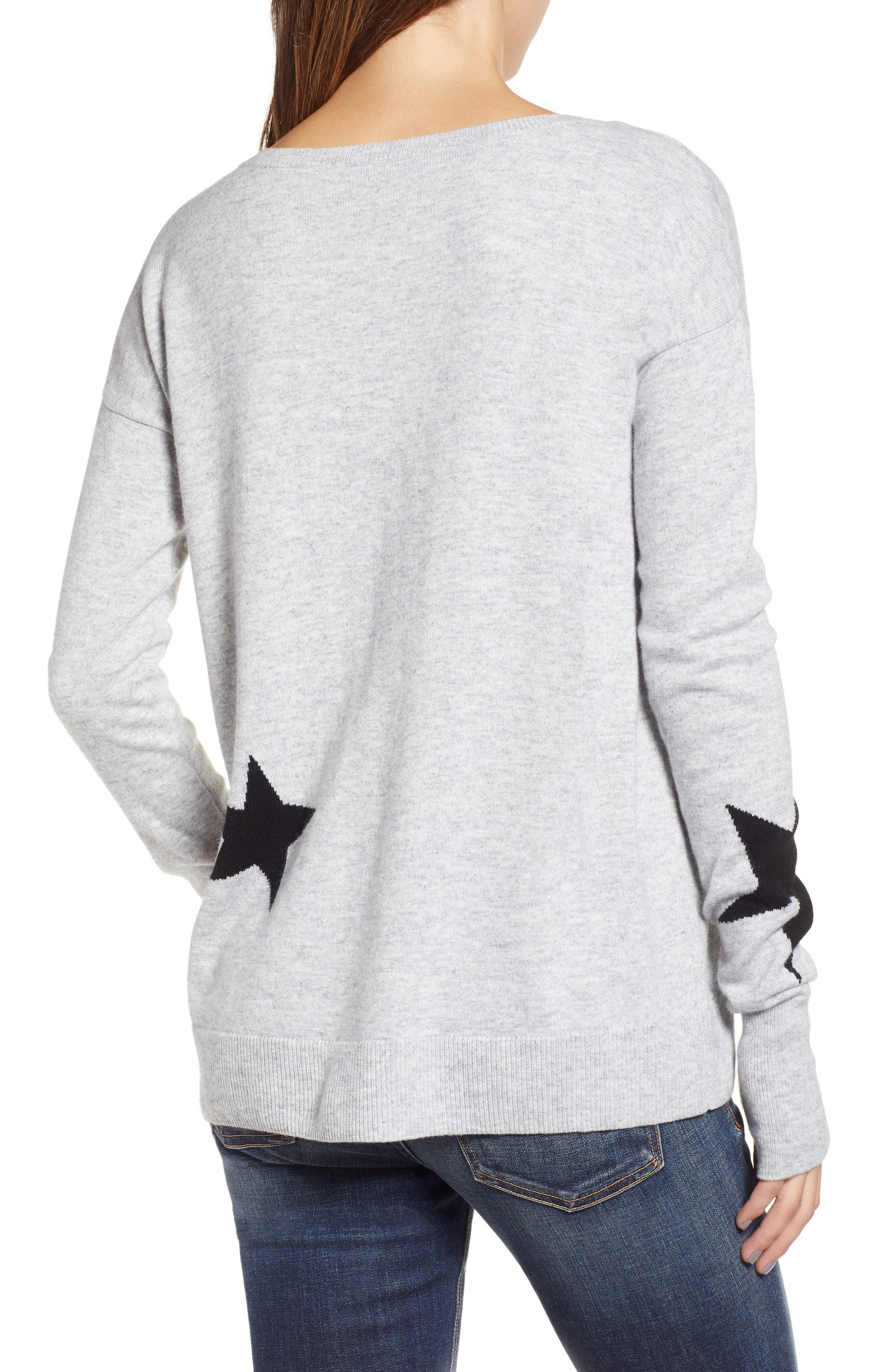 Star Intarsia V-Neck Sweater,                             Alternate thumbnail 2, color,                             HEATHER GREY