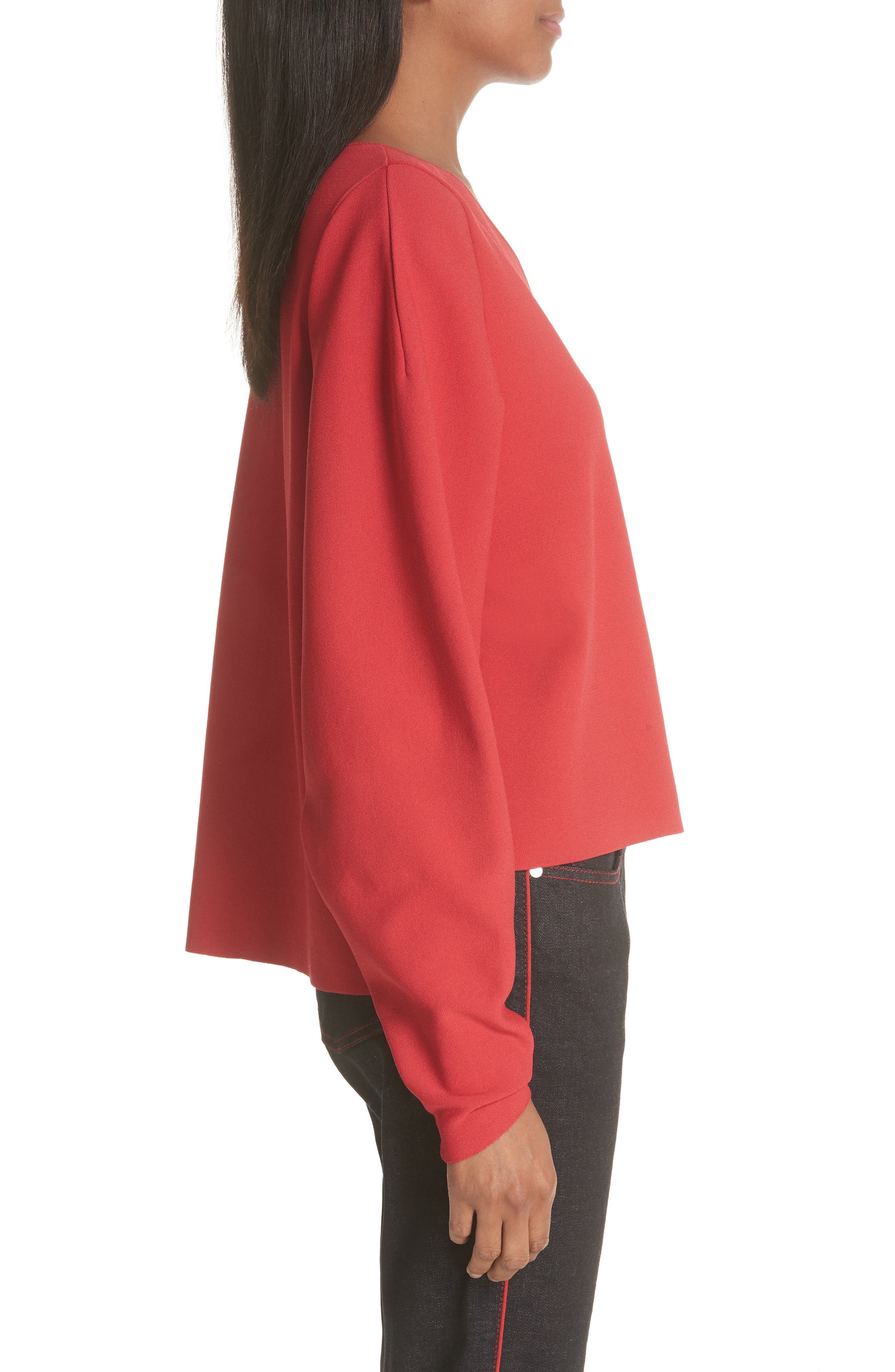 Zip Sleeve Milano Stitch Sweater,                             Alternate thumbnail 3, color,                             627