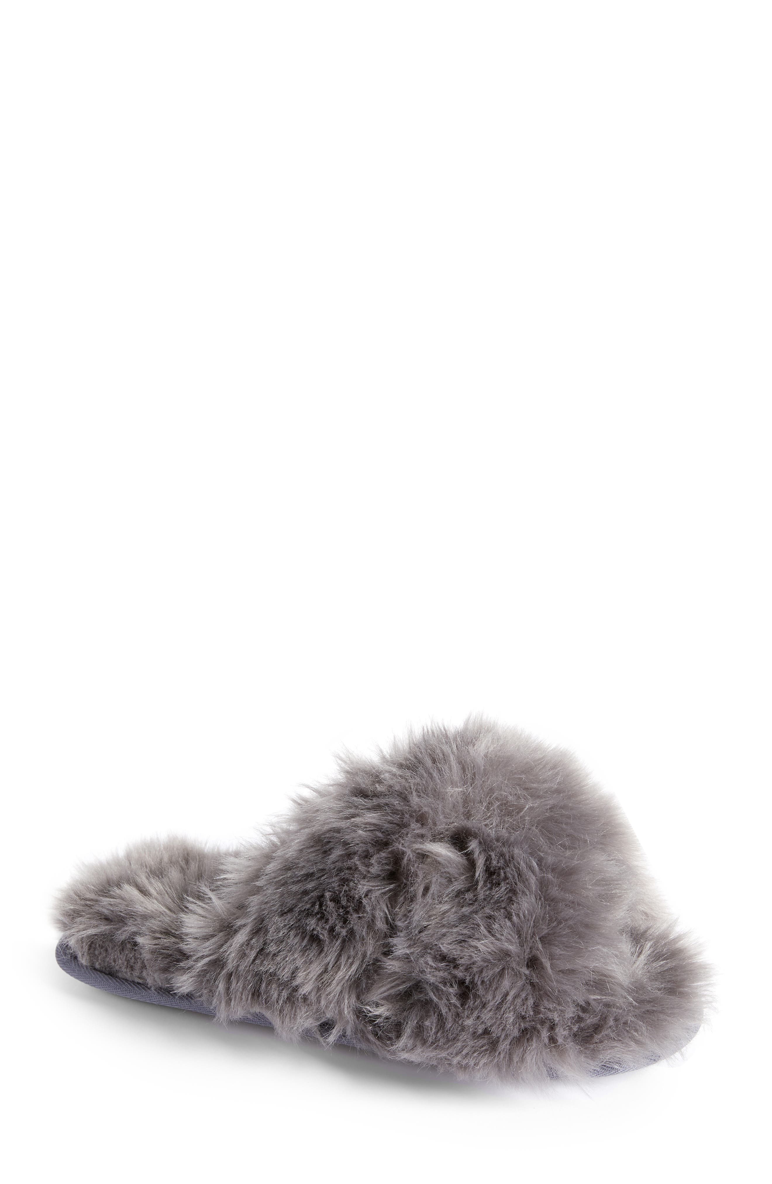 Cuddle Plush Faux Fur Scuff Slipper,                             Main thumbnail 1, color,                             GREY ASPHALT