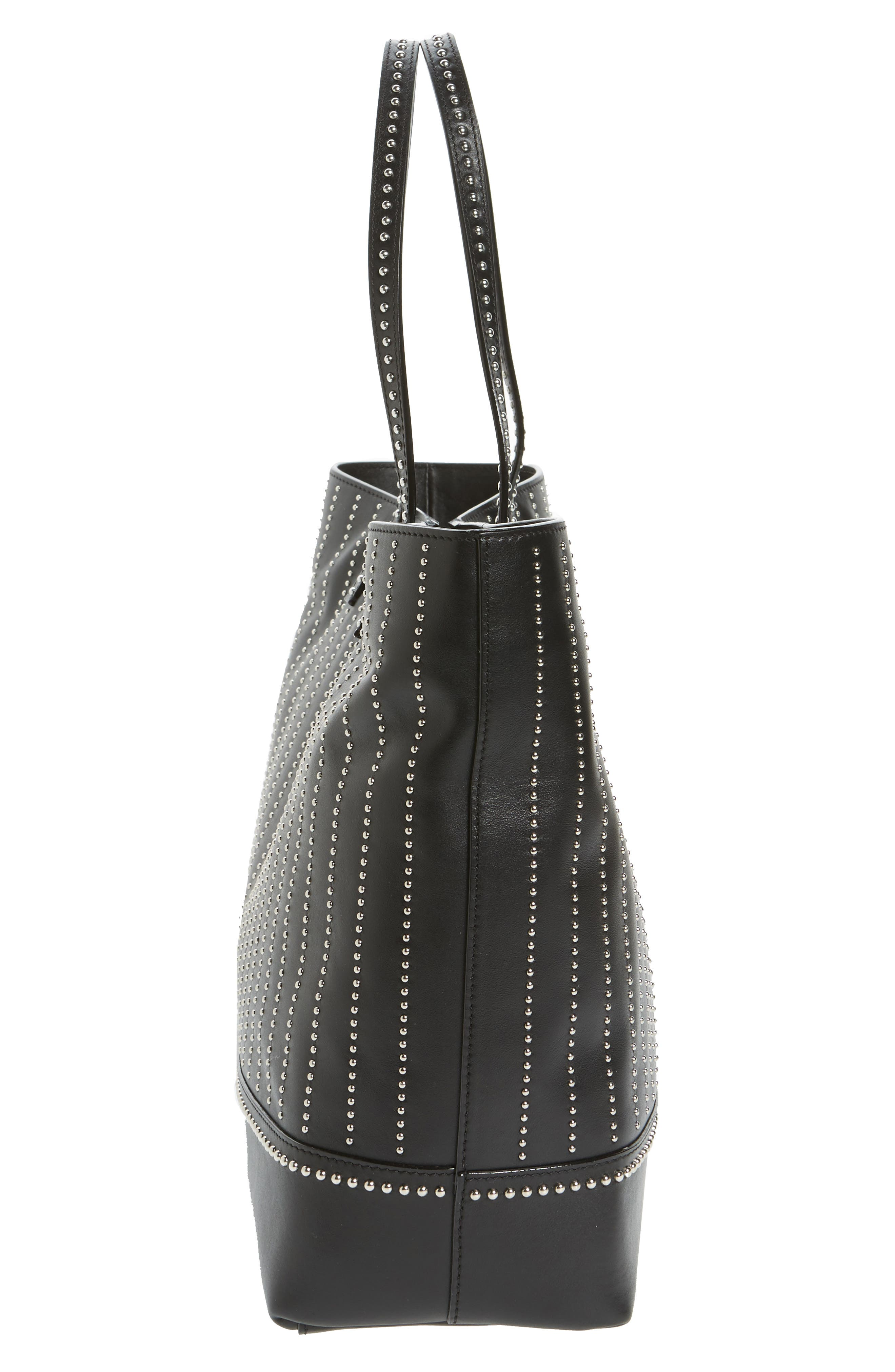 Studded Leather Tote,                             Alternate thumbnail 5, color,                             115