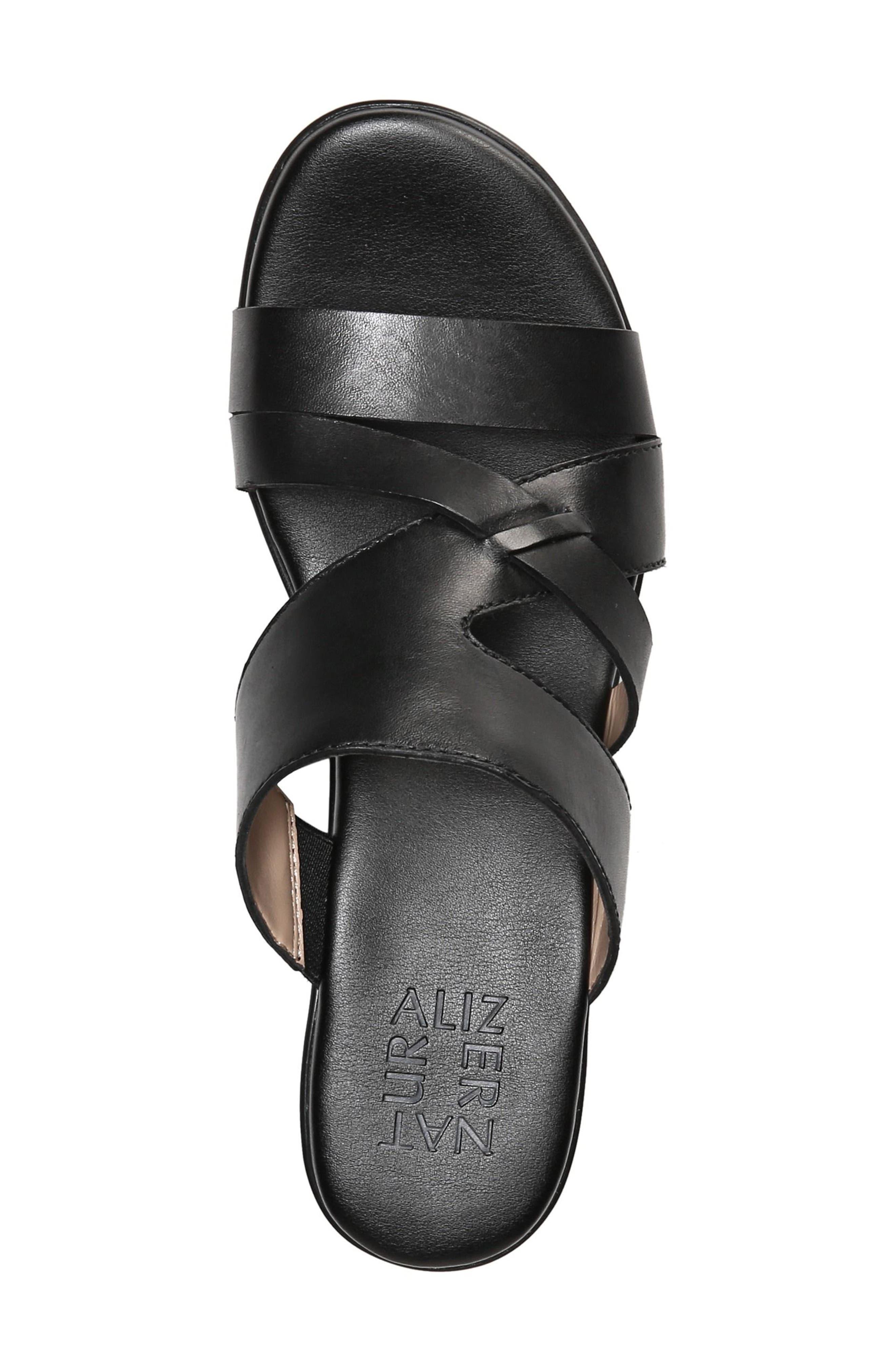 Vivy Wedge Sandal,                             Alternate thumbnail 5, color,                             BLACK LEATHER