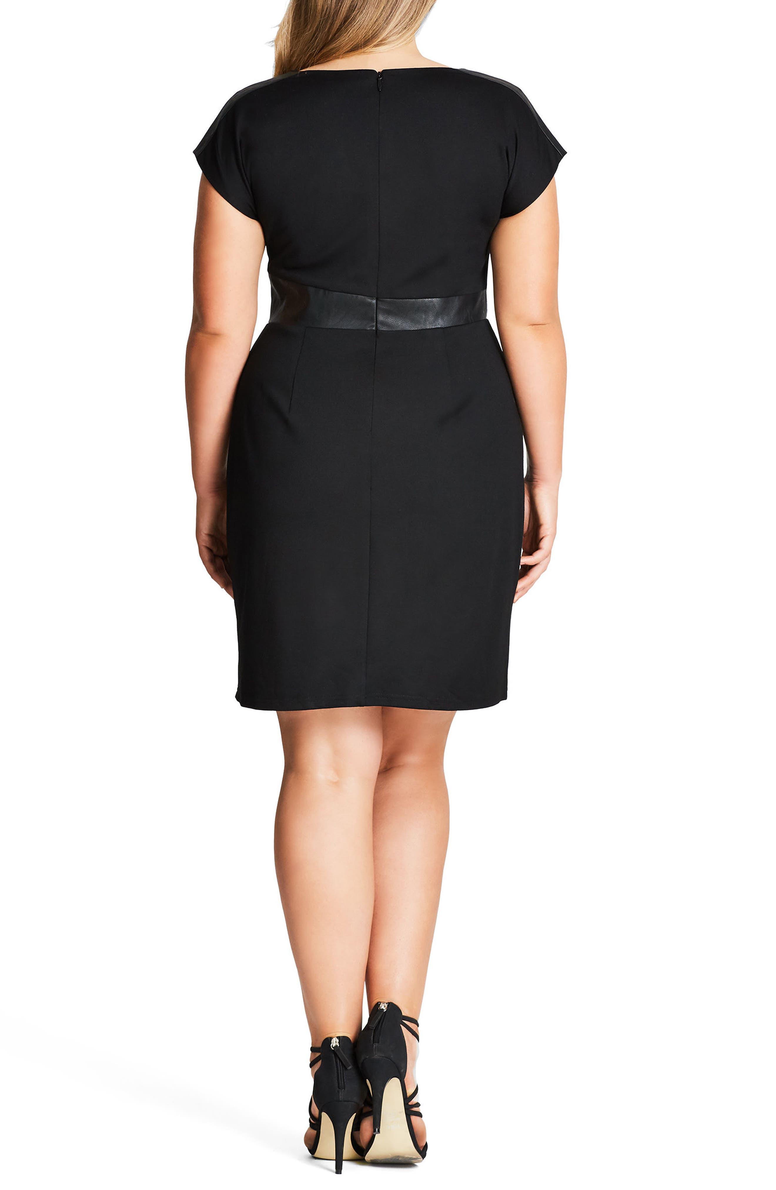 Spliced Mod Sheath Dress,                             Alternate thumbnail 2, color,                             BLACK