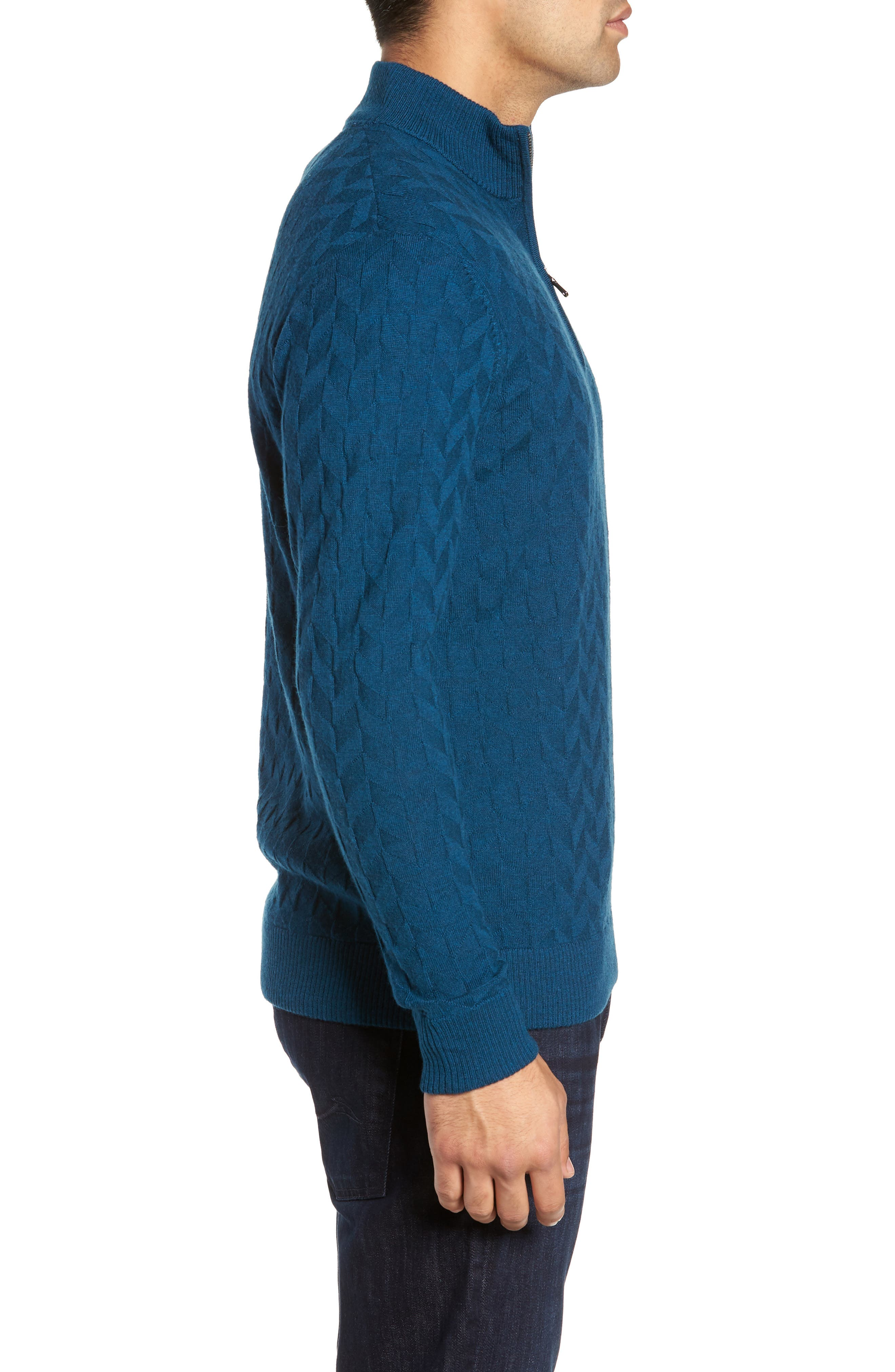 Rowley Classic Fit Quarter Zip Sweater,                             Alternate thumbnail 3, color,                             TEAL