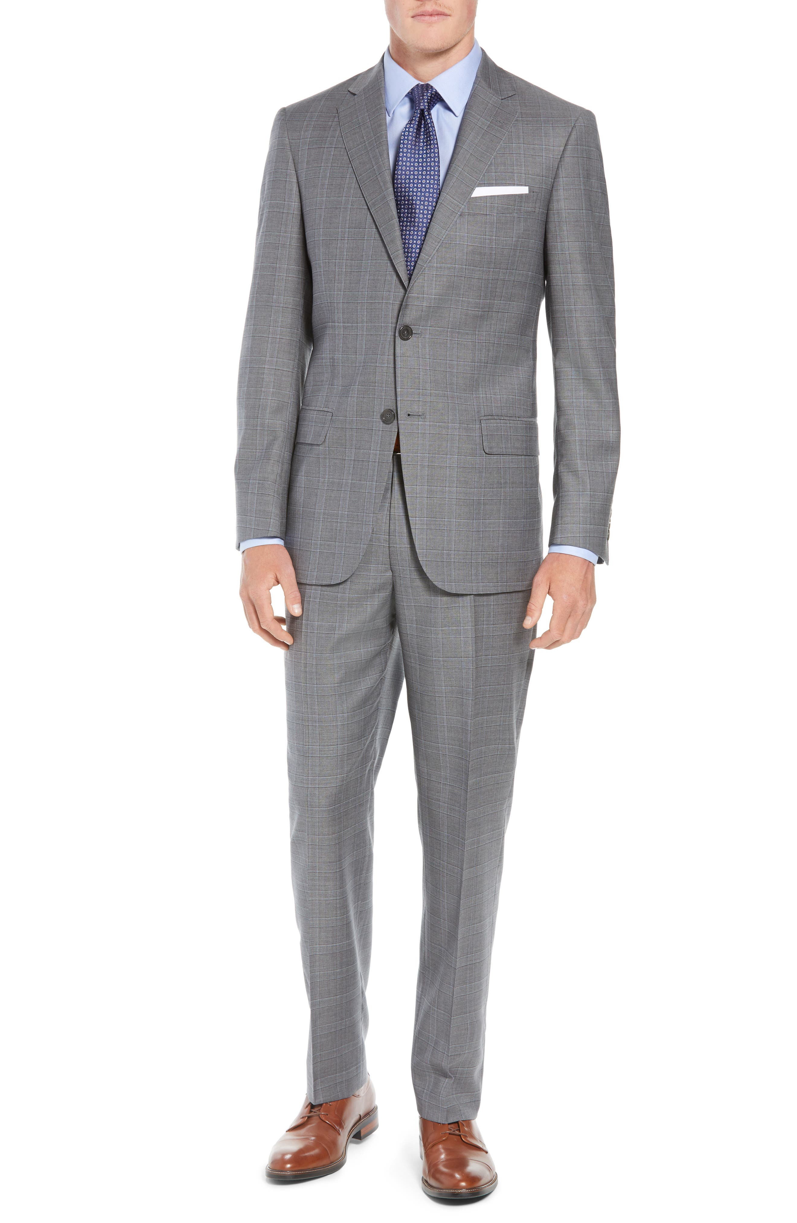 New York Classic Fit Plaid Wool Suit,                         Main,                         color, MID GREY