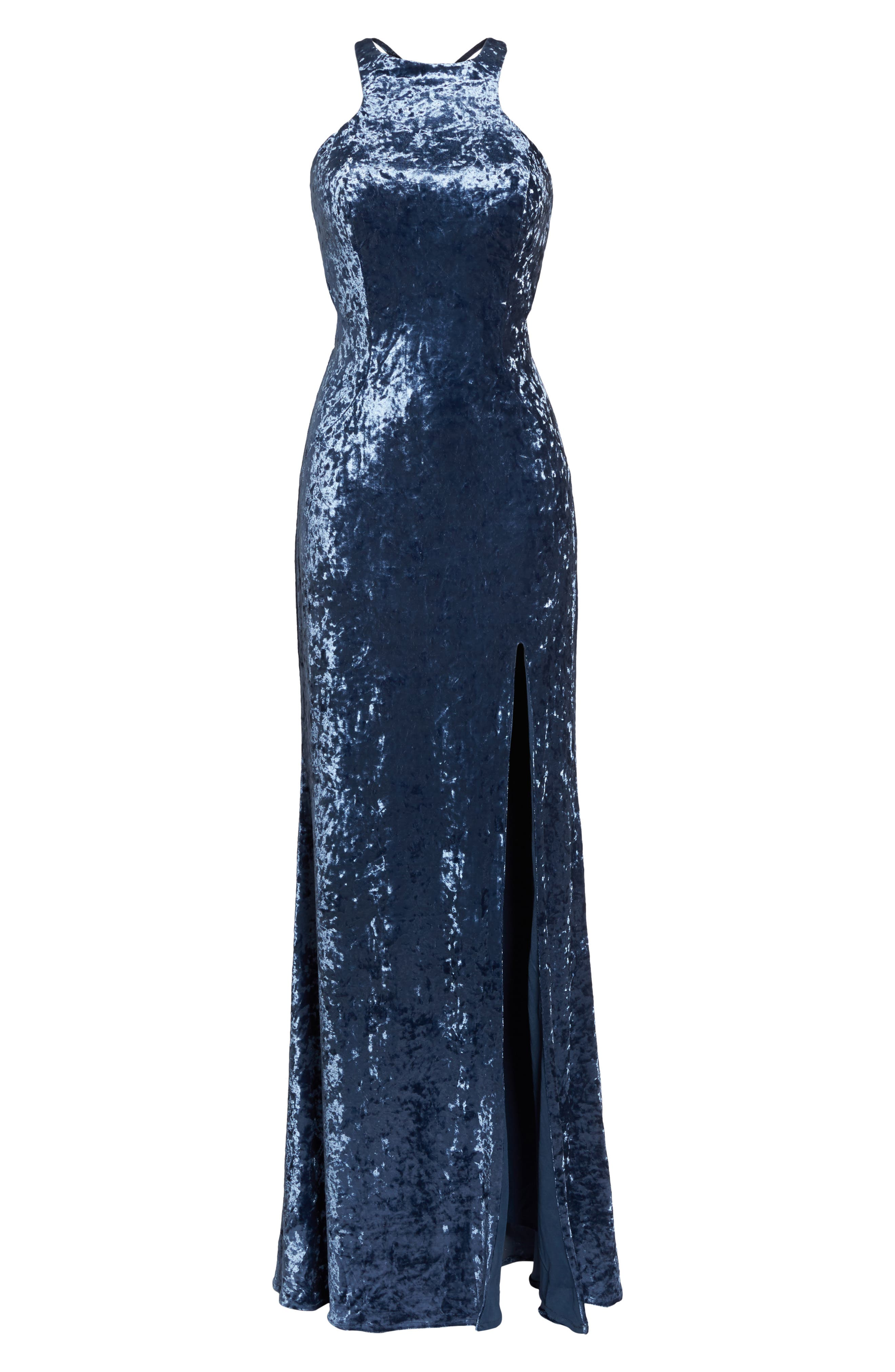 Strappy Crushed Velvet Gown,                             Alternate thumbnail 6, color,                             SLATE BLUE