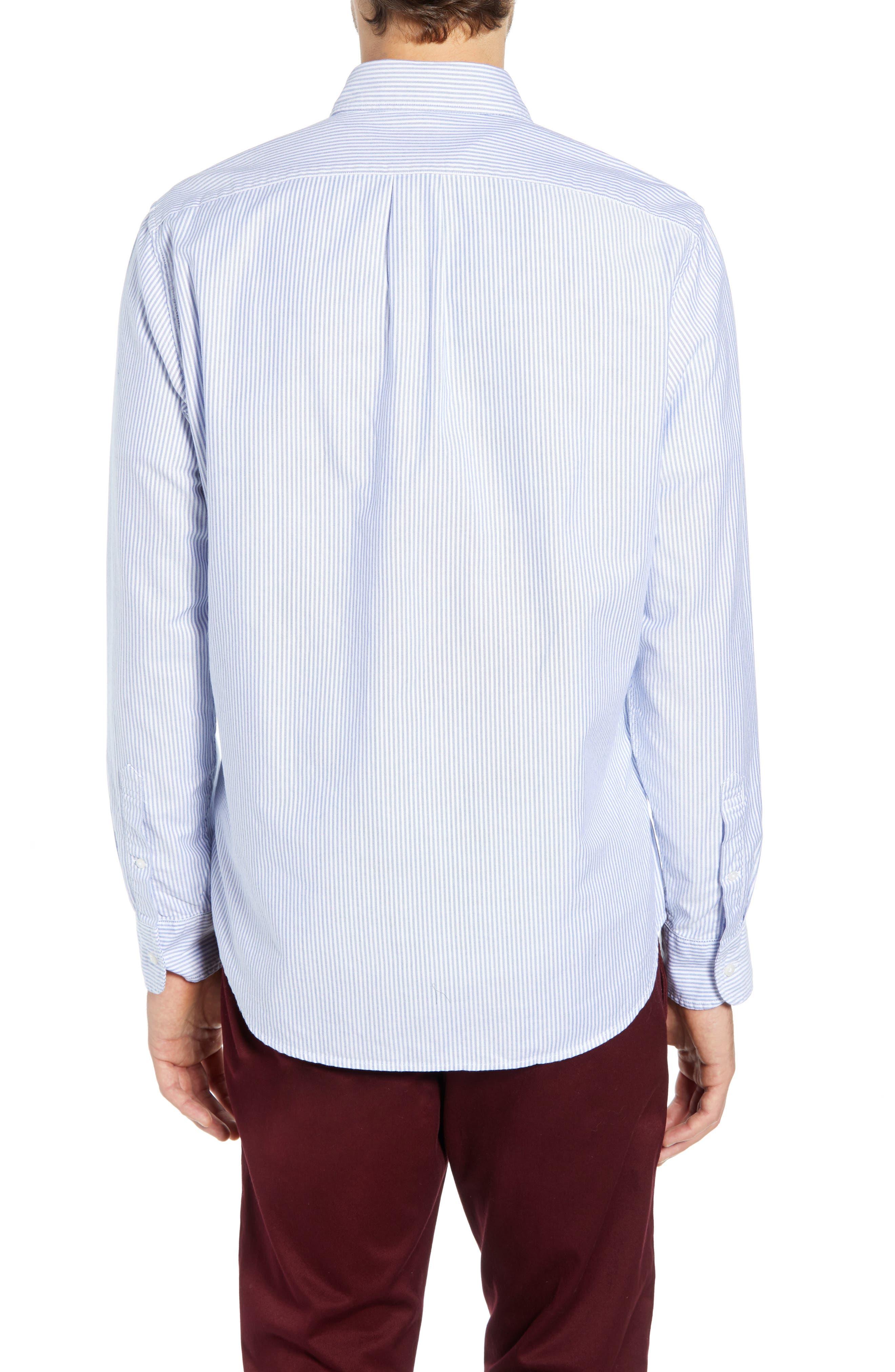 Stripe Pima Cotton Oxford Sport Shirt,                             Alternate thumbnail 3, color,                             RAINCOAT BLUE