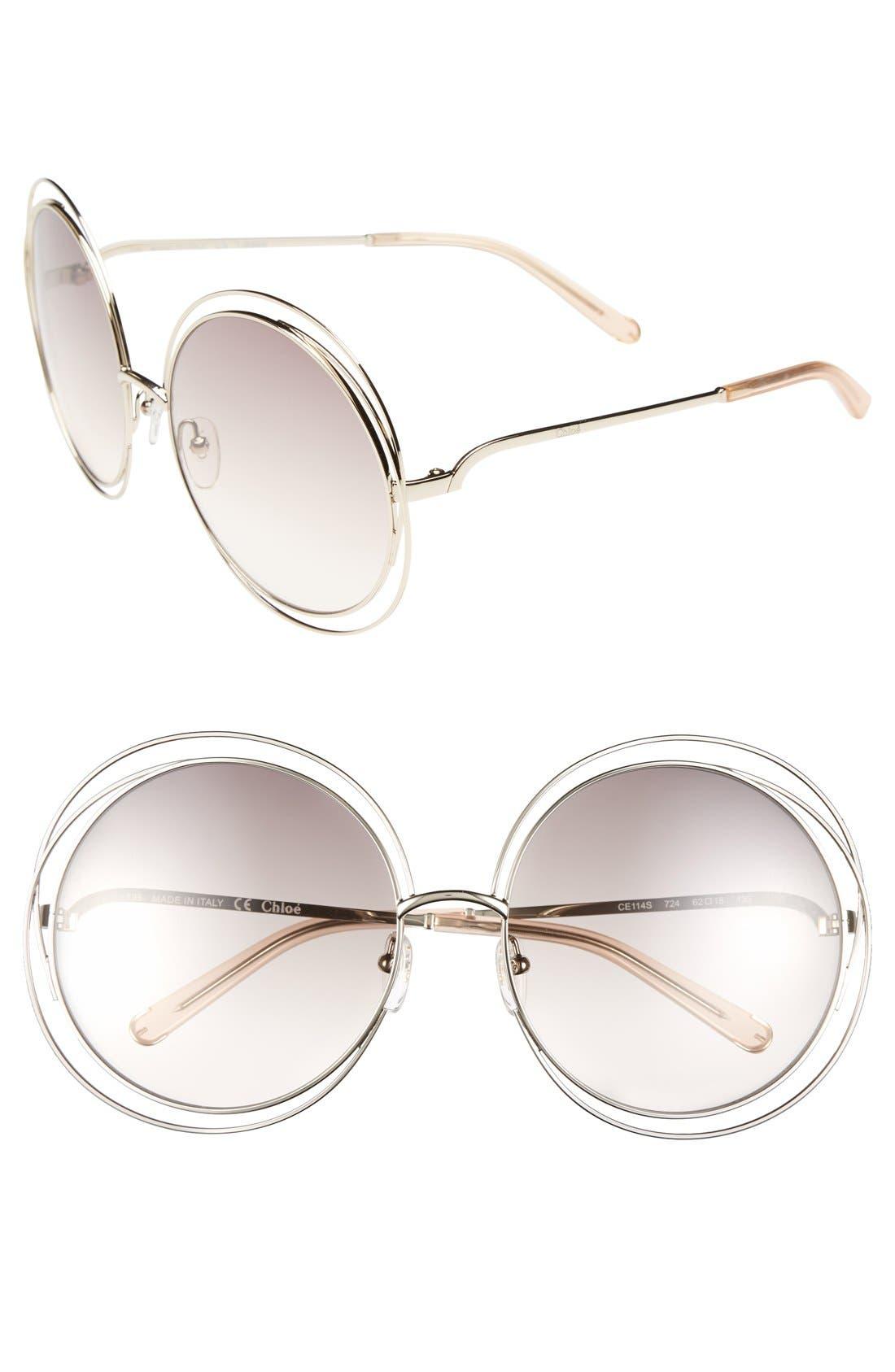 CHLOÉ,                             62mm Oversize Sunglasses,                             Main thumbnail 1, color,                             GOLD/ TRANSPARENT PEACH