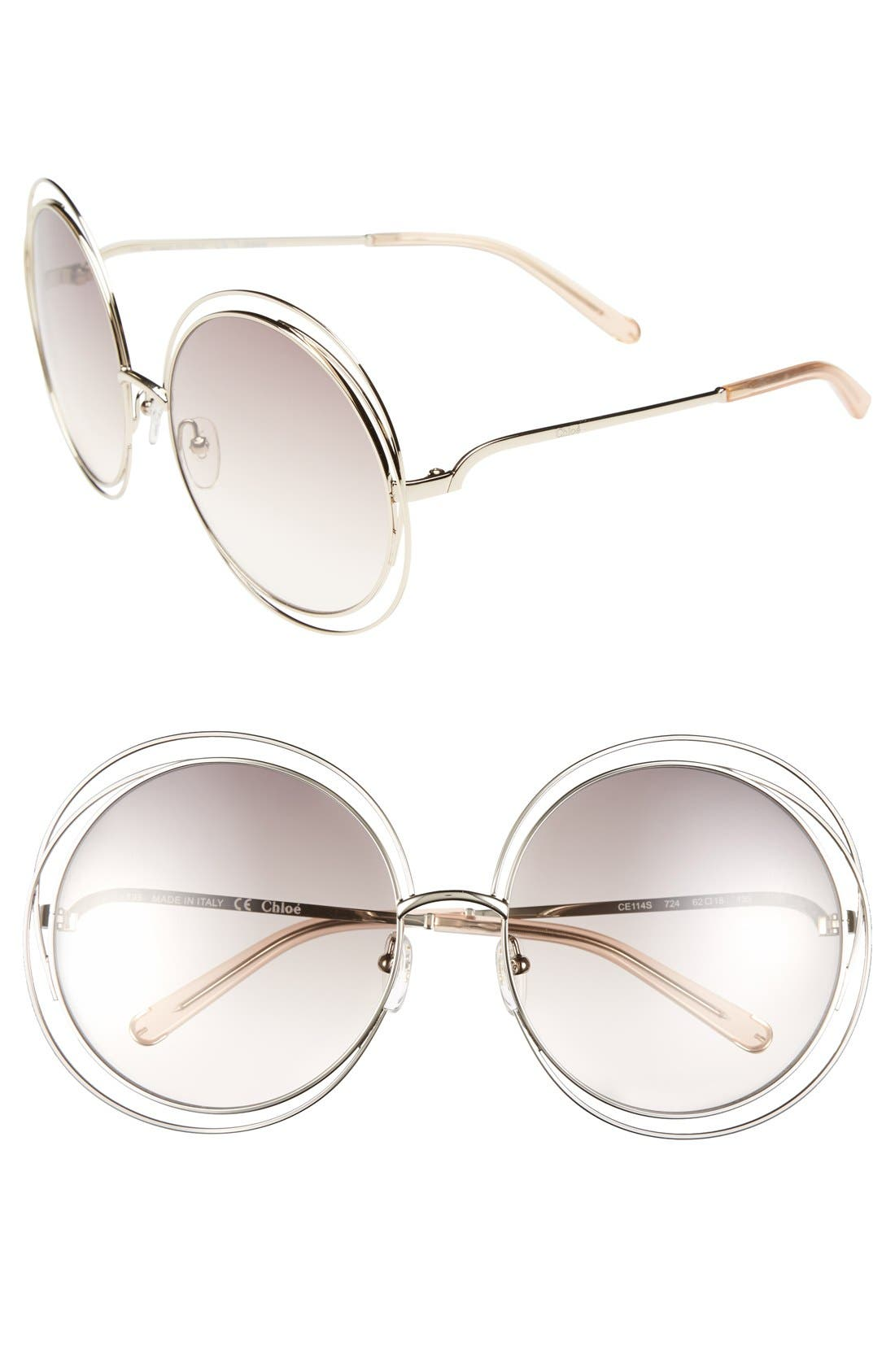 CHLOÉ 62mm Oversize Sunglasses, Main, color, GOLD/ TRANSPARENT PEACH