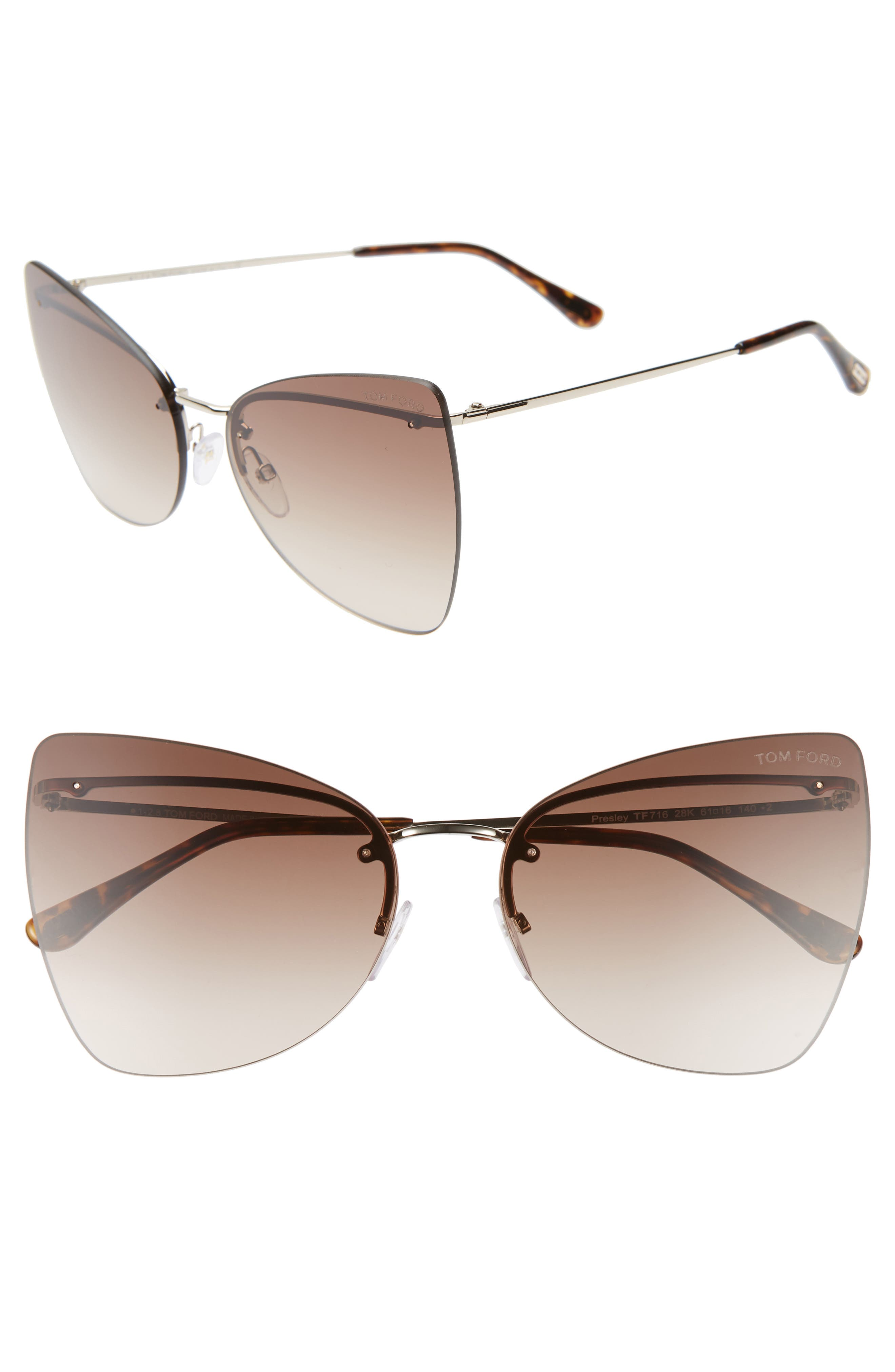 Tom Ford Presley 61Mm Butterfly Sunglasses - Rose Gold/ Havana/ Brown