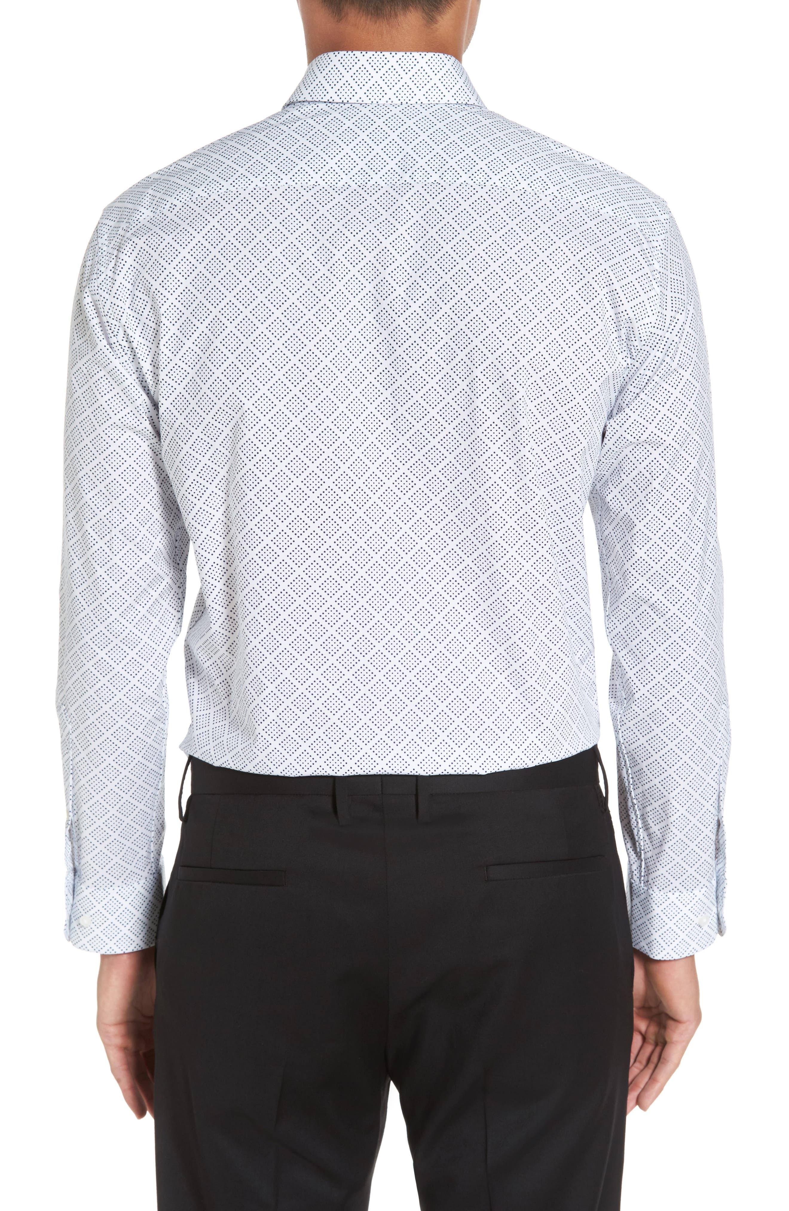 Trim Fit Non-Iron Graphic Stretch Dress Shirt,                             Alternate thumbnail 2, color,                             410