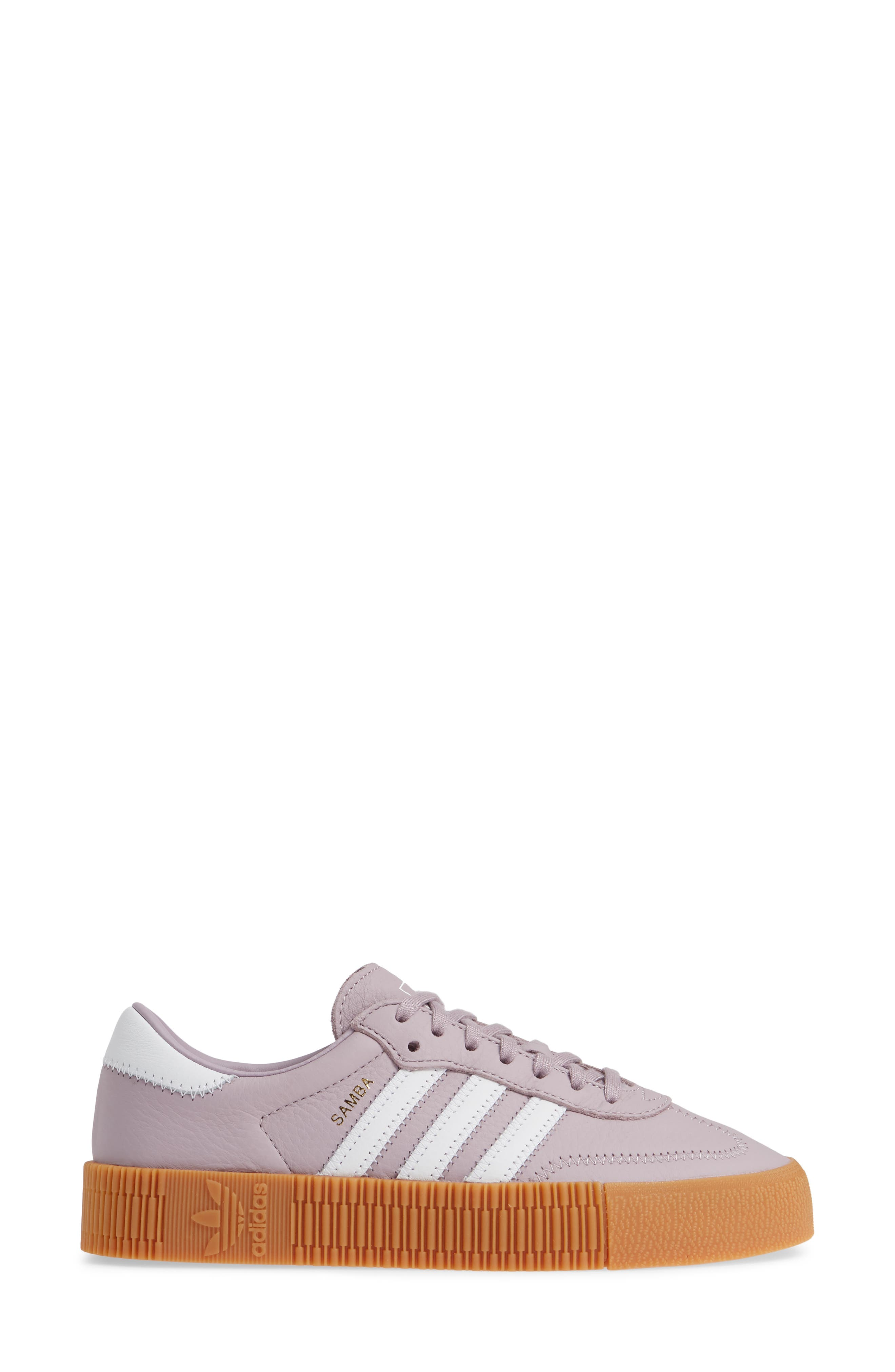 ADIDAS,                             Samba Rose Sneaker,                             Alternate thumbnail 3, color,                             SOFT VISION/ WHITE/ GUM