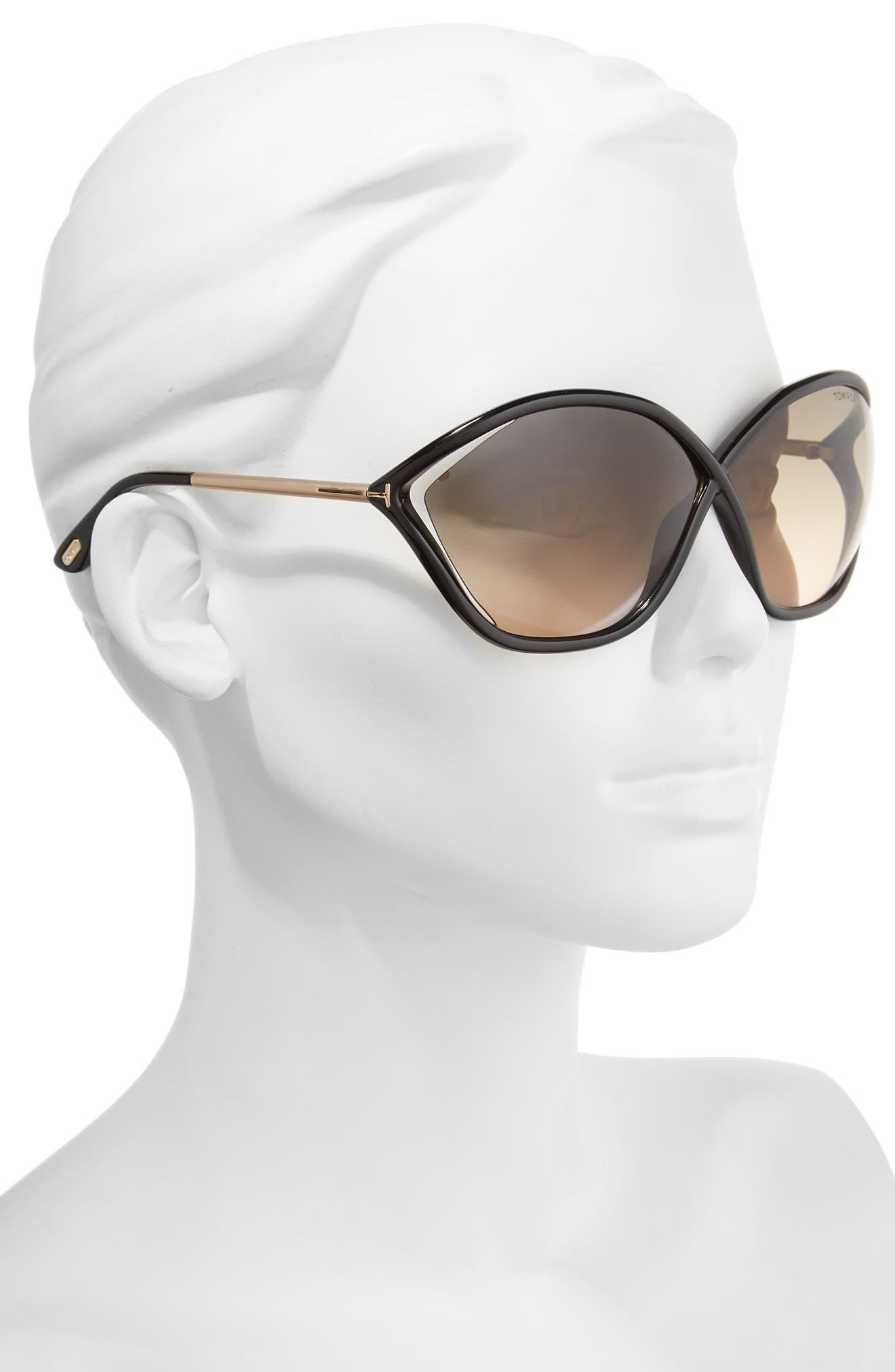 Bella 71mm Gradient Lens Sunglasses,                             Alternate thumbnail 2, color,                             001