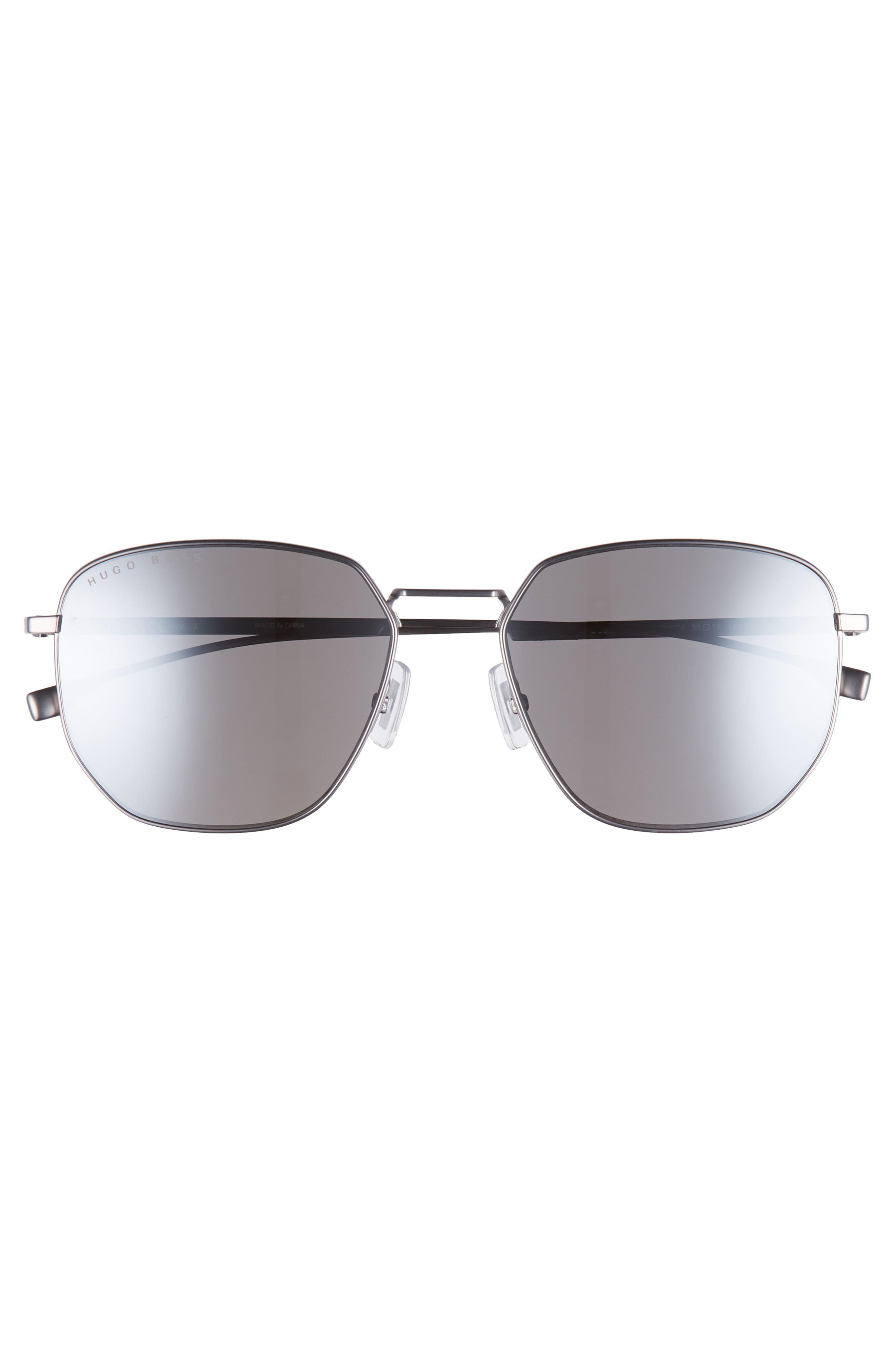 Special Fit 58mm Polarized Titanium Aviator Sunglasses,                             Alternate thumbnail 2, color,                             MATTE GREY