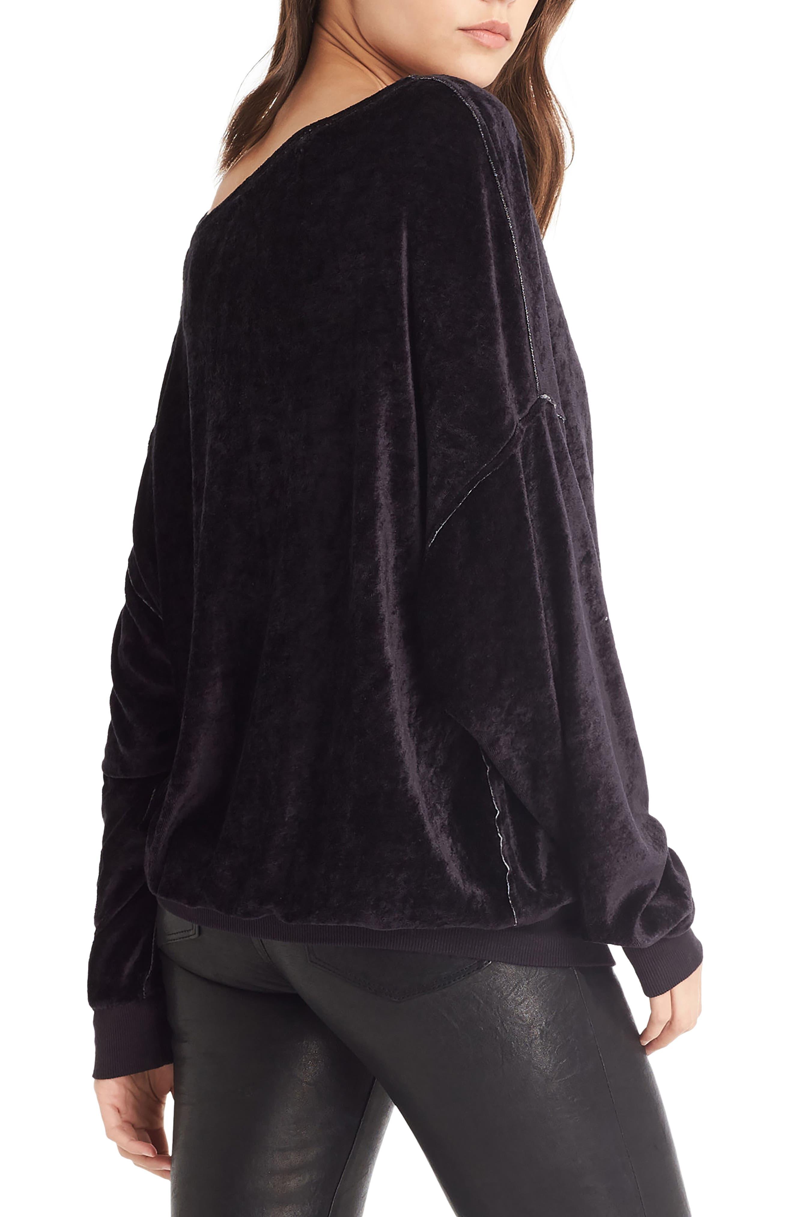Asymmetrical Neck Velvet Pullover,                             Alternate thumbnail 3, color,                             001