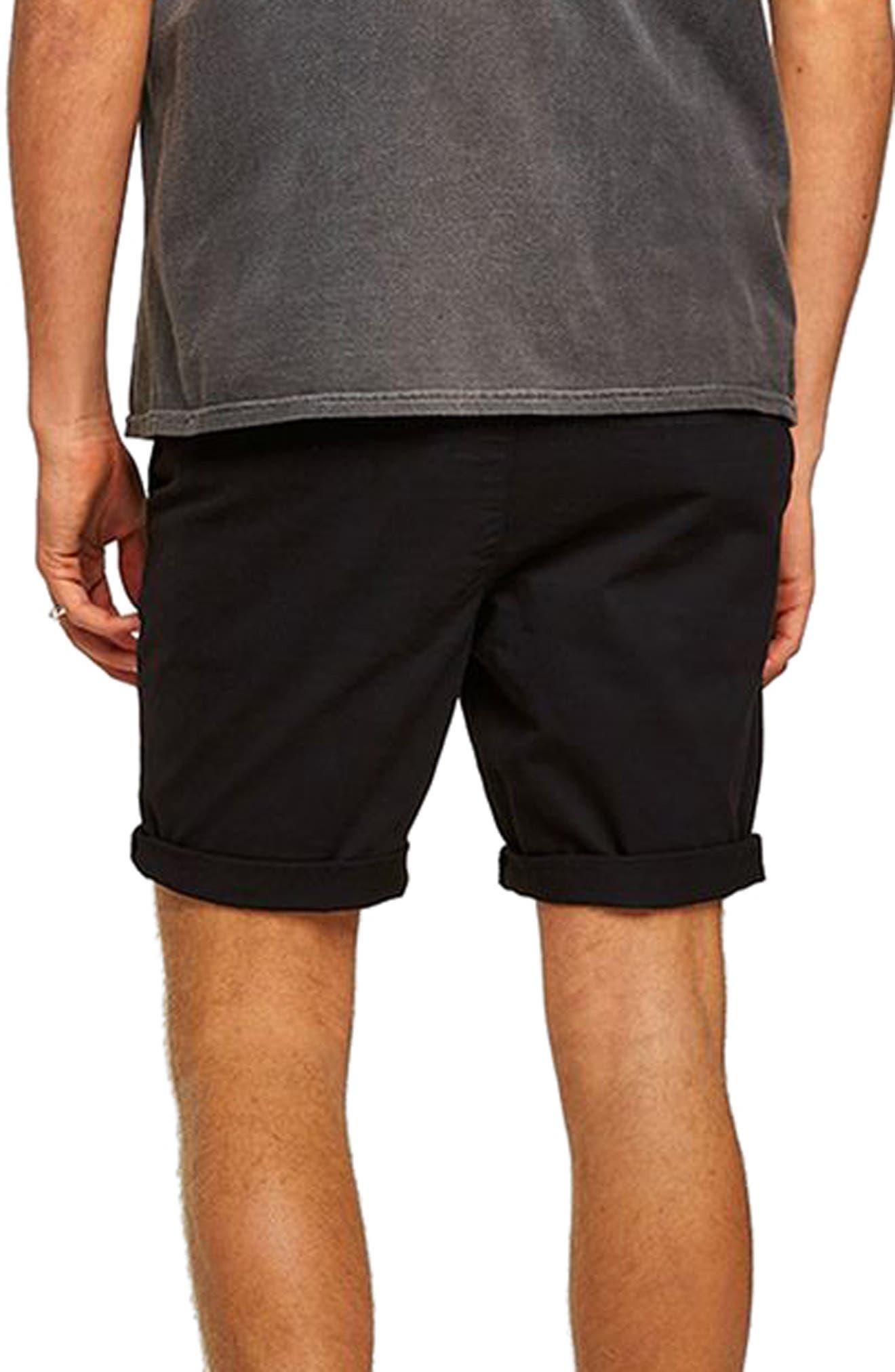 TOPMAN,                             Skinny Fit Chino Shorts,                             Alternate thumbnail 2, color,                             BLACK