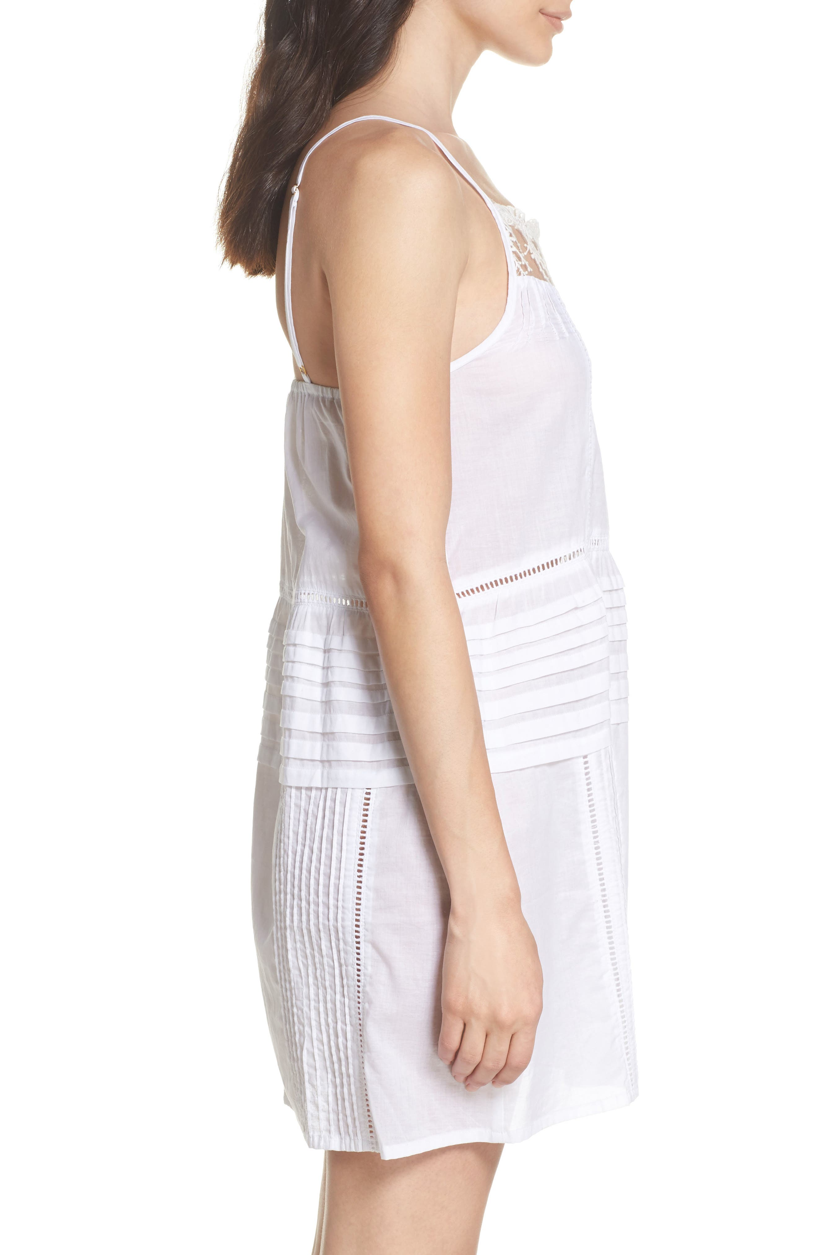 Embroidered Lace Chemise,                             Alternate thumbnail 3, color,                             WHITE