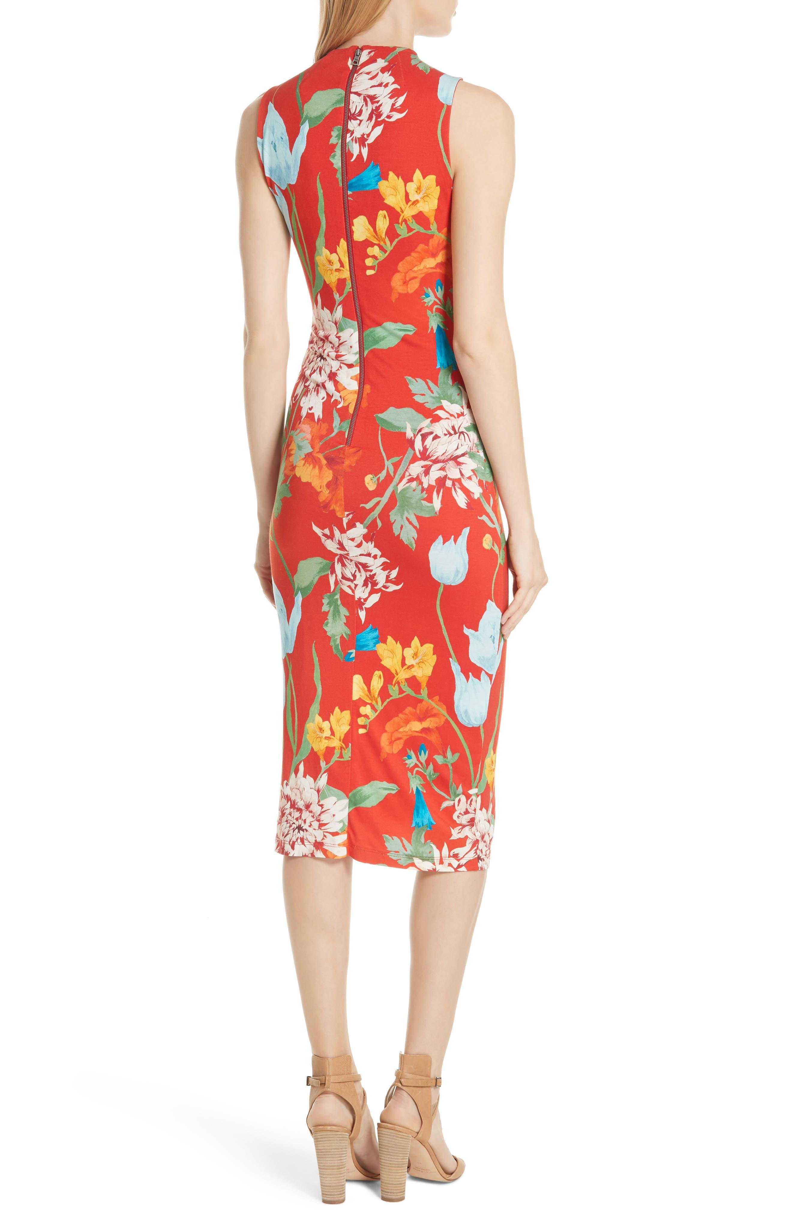 Delora Floral Sleeveless Body-Con Dress,                             Alternate thumbnail 2, color,                             602