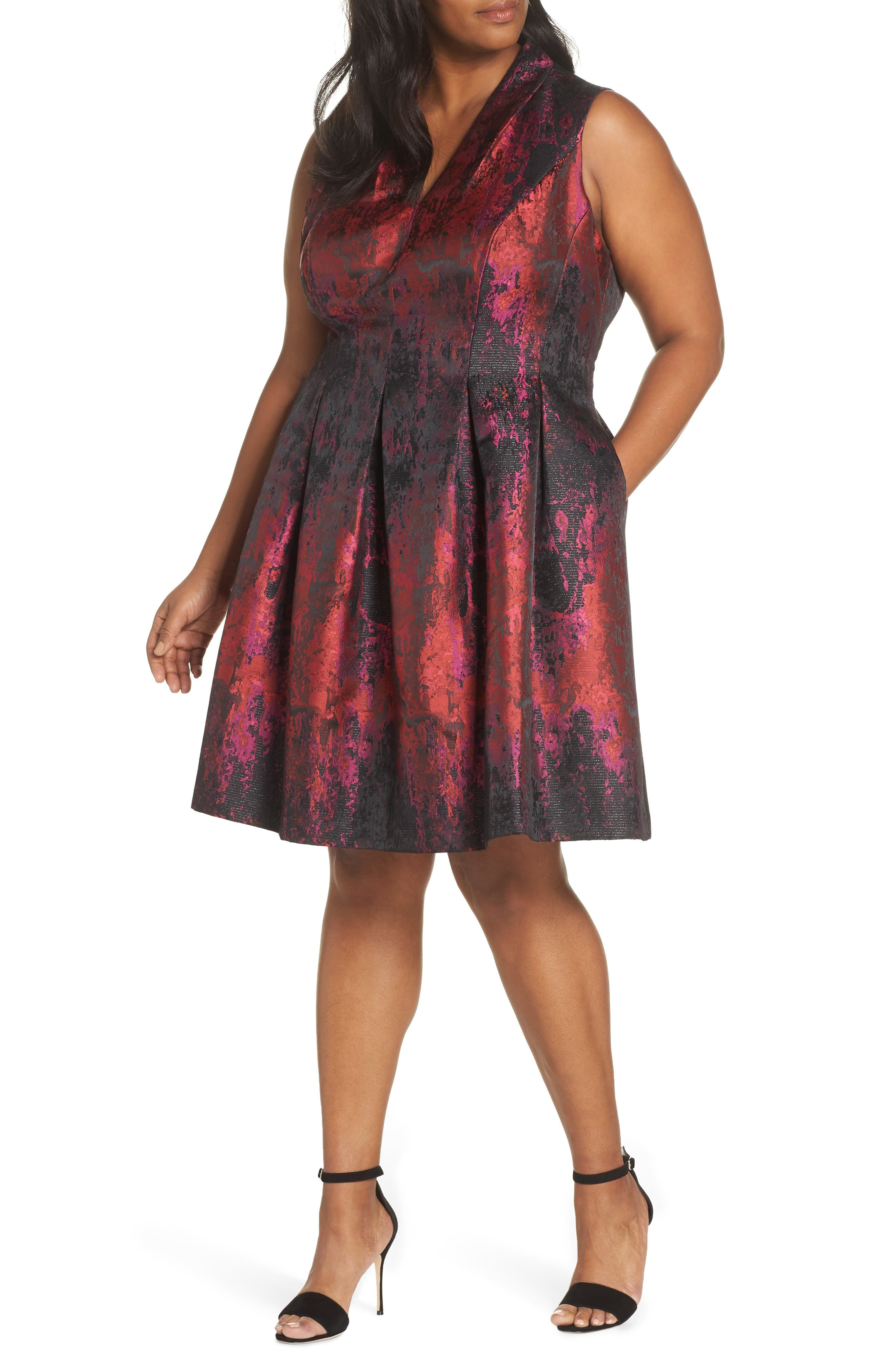 Plus Size Vince Camuto Sleeveless Jacquard Fit & Flare Dress, Pink