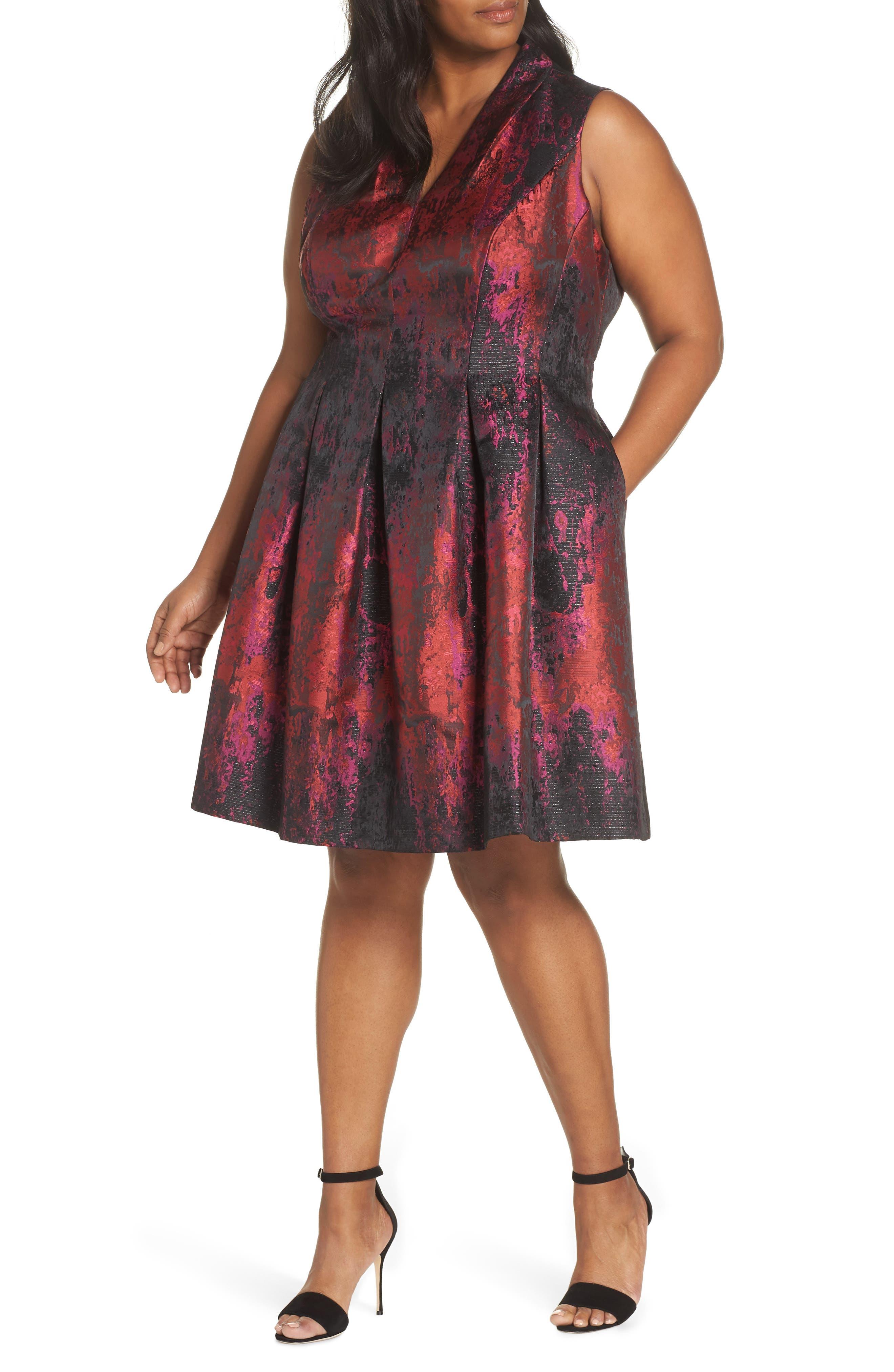 Sleeveless Jacquard Fit & Flare Dress,                         Main,                         color, PINK MULTI