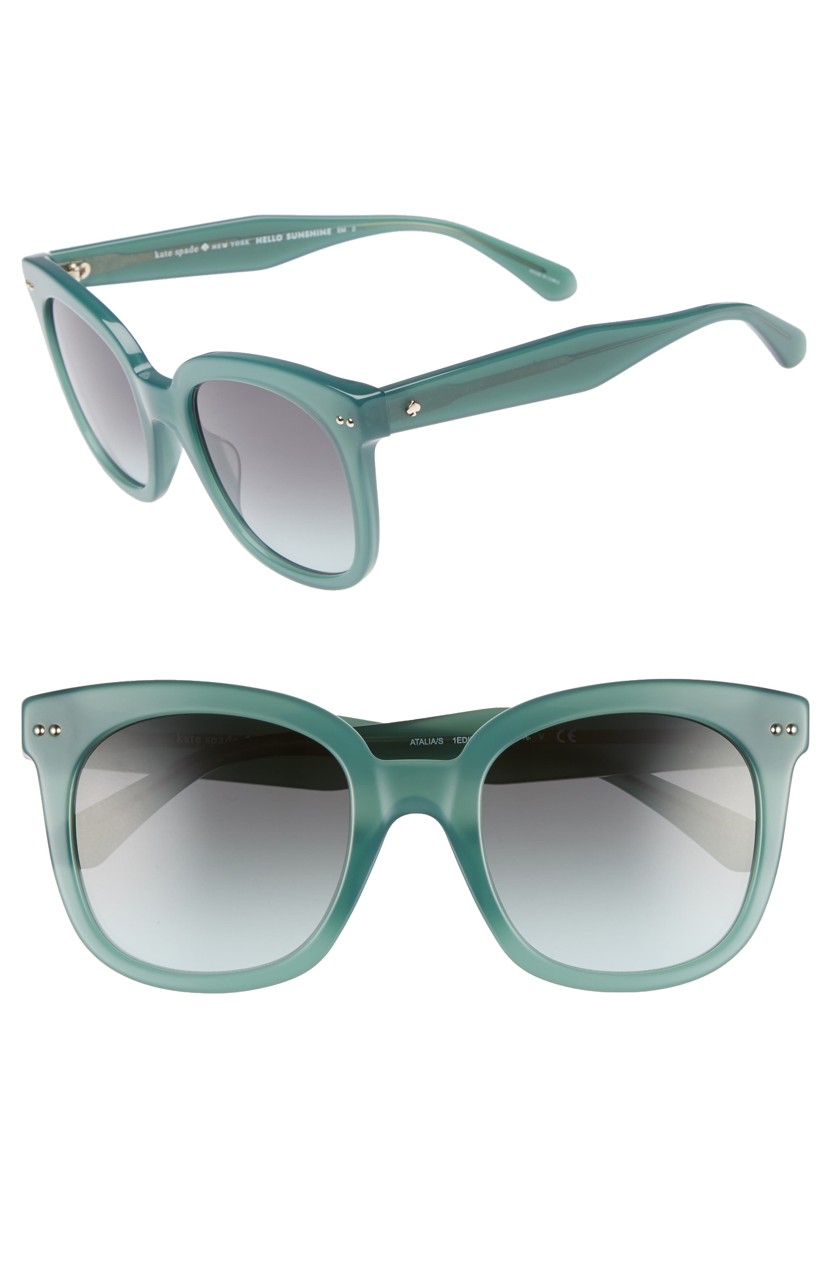 atalias 52mm square sunglasses,                         Main,                         color, GREEN