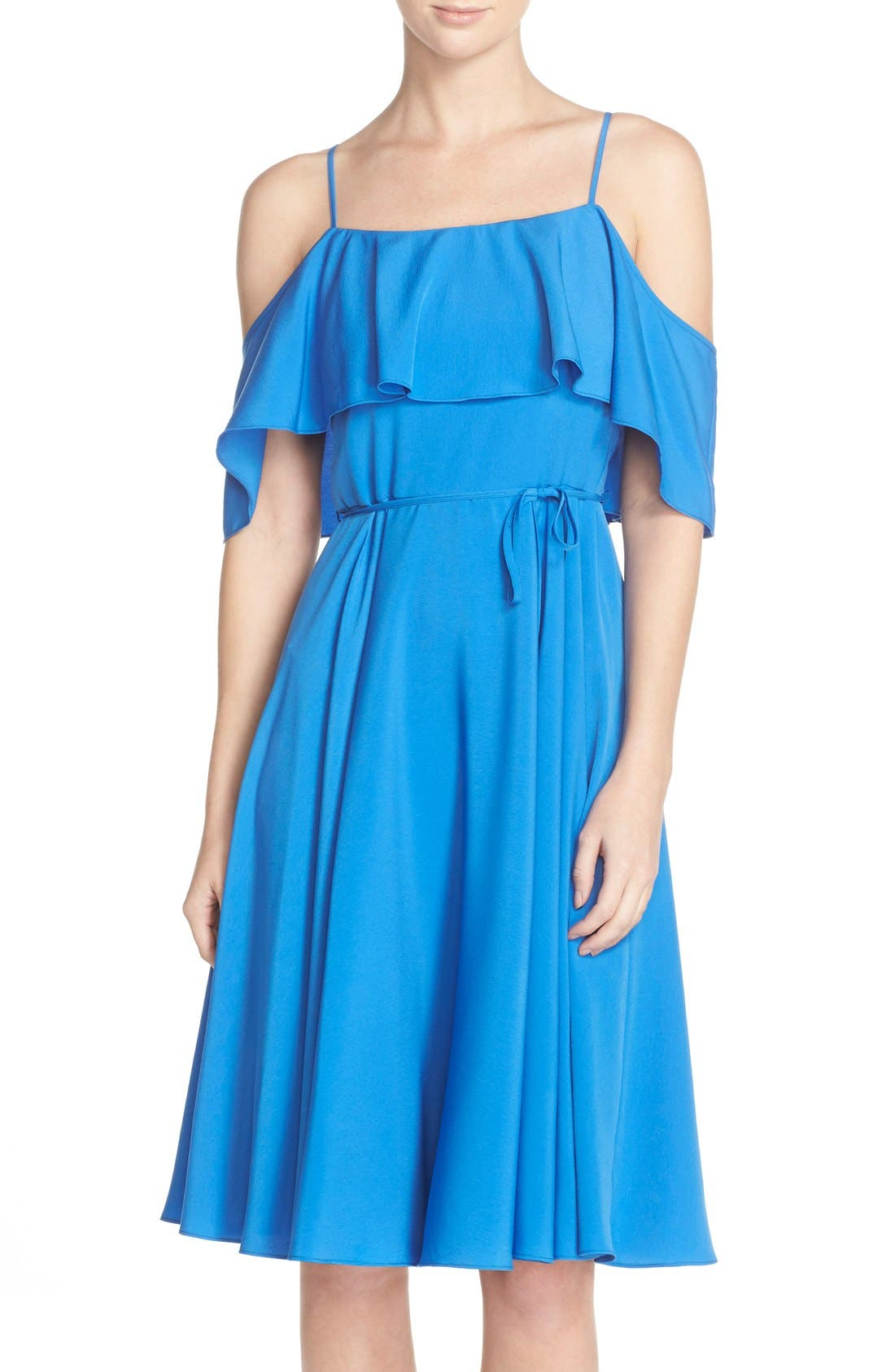 'Jackie' Cold Shoulder Fit & Flare Dress,                             Main thumbnail 1, color,                             426
