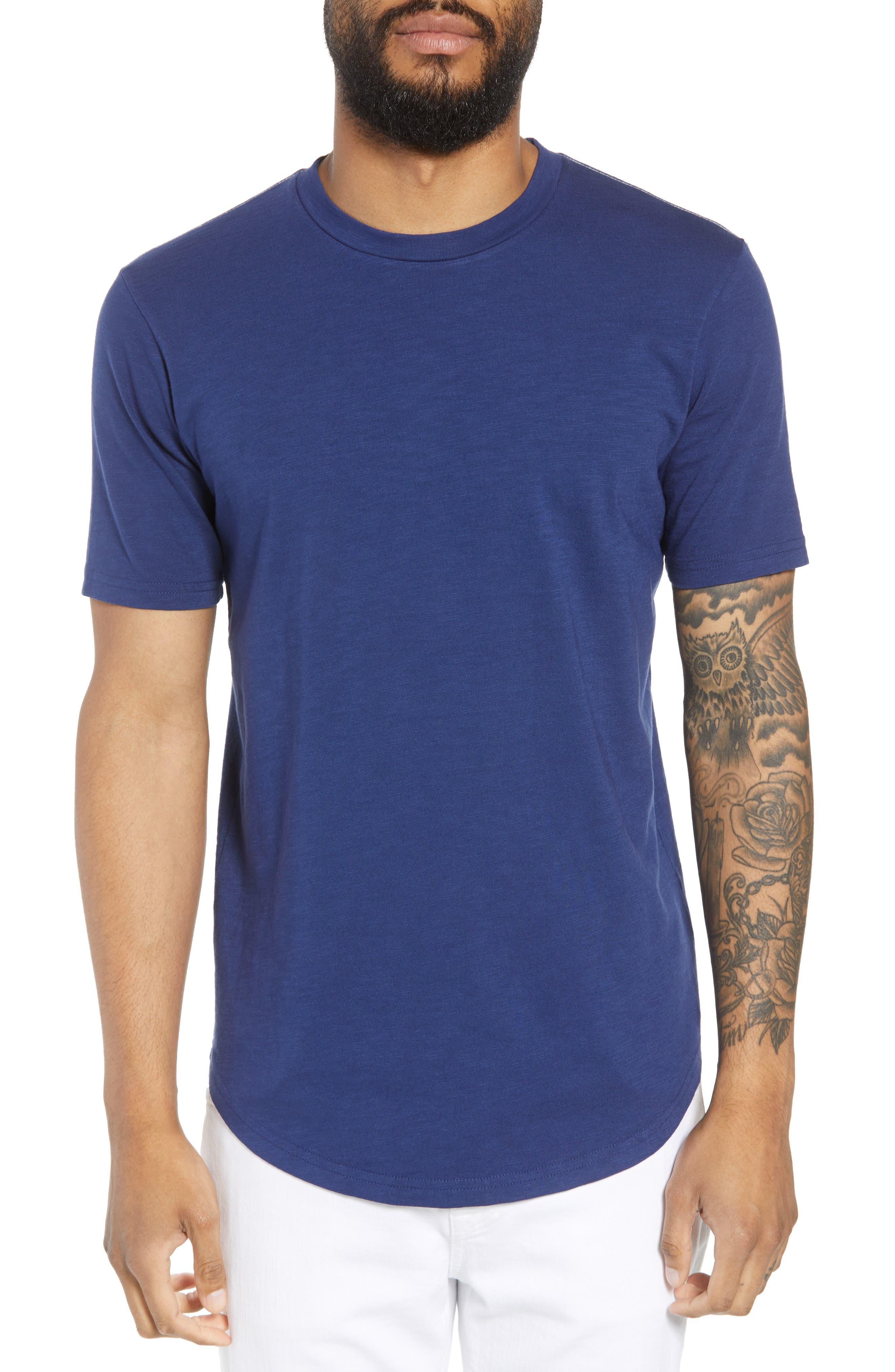 Scallop Hem Slub Crewneck T-Shirt,                         Main,                         color, GOODLIFE NAVY
