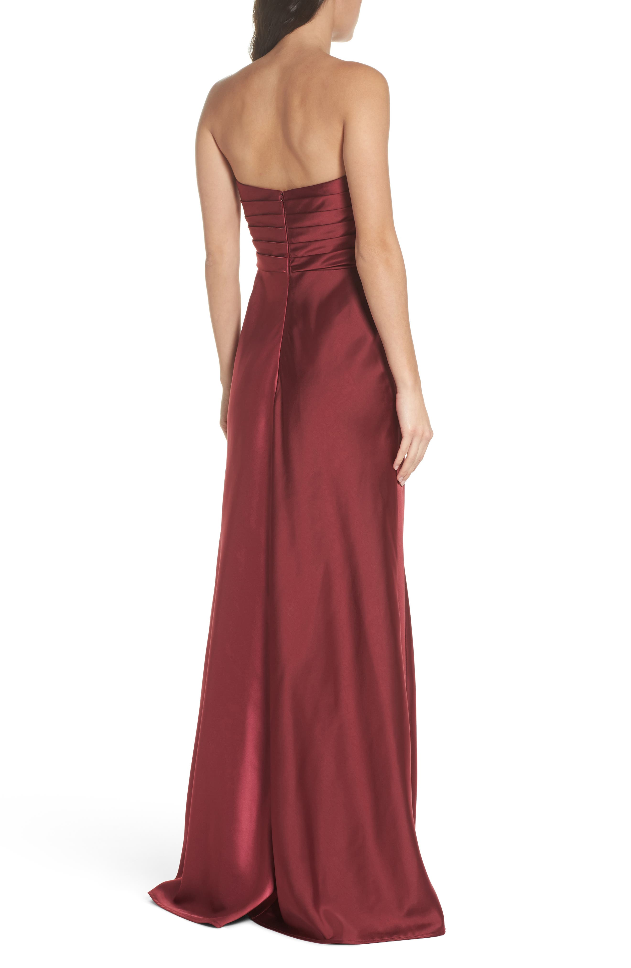 Gathered Strapless Satin Gown,                             Alternate thumbnail 2, color,                             602