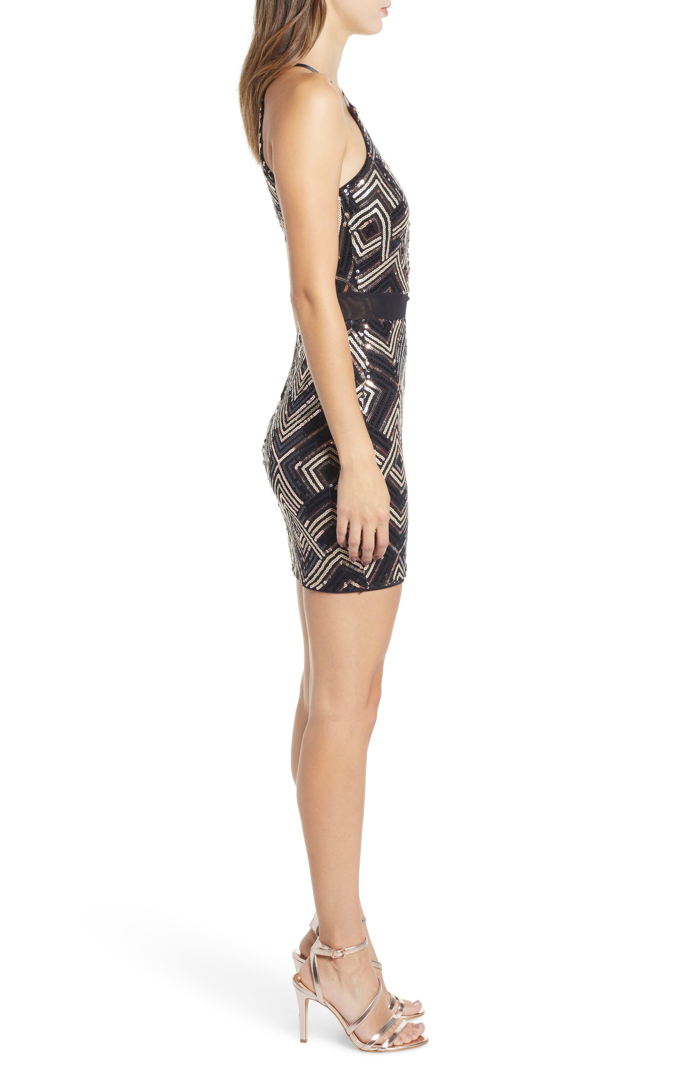 Sequin Cutout Minidress,                             Alternate thumbnail 3, color,                             BLACK SEQUINS