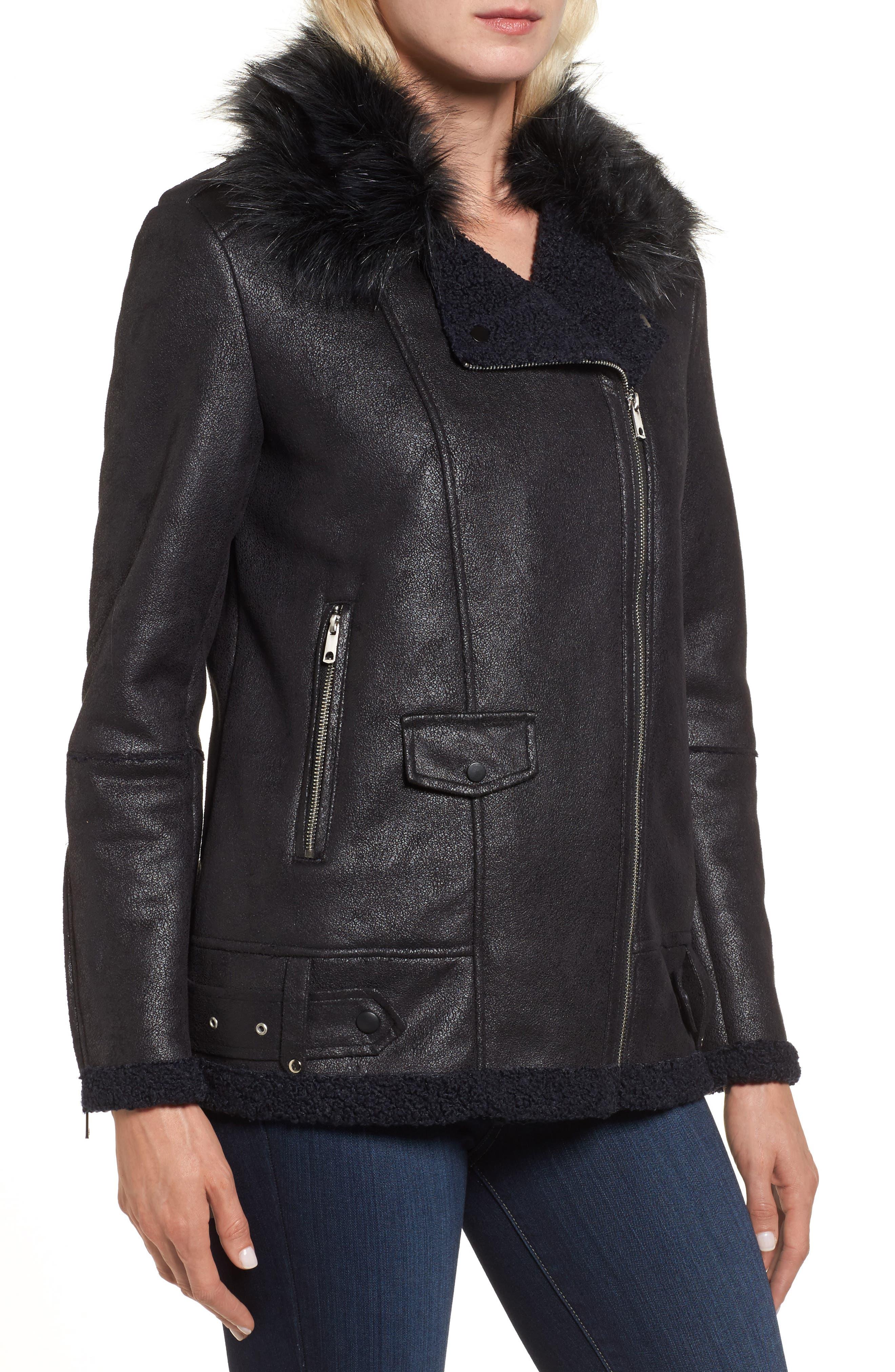 Faux Suede Moto Jacket with Faux Fur Collar,                             Alternate thumbnail 4, color,                             460